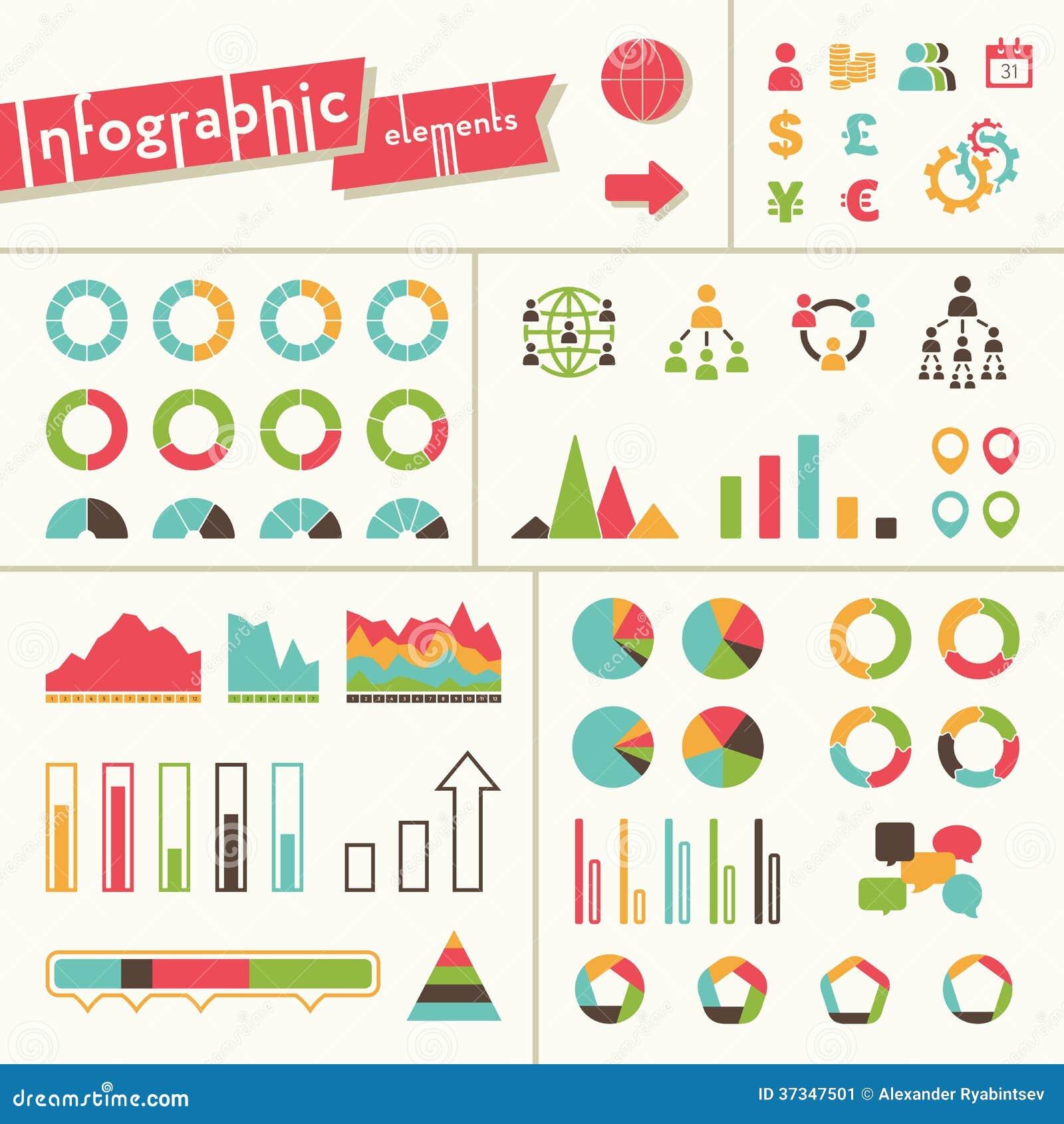 Stor uppsättning av infographicsbeståndsdelar