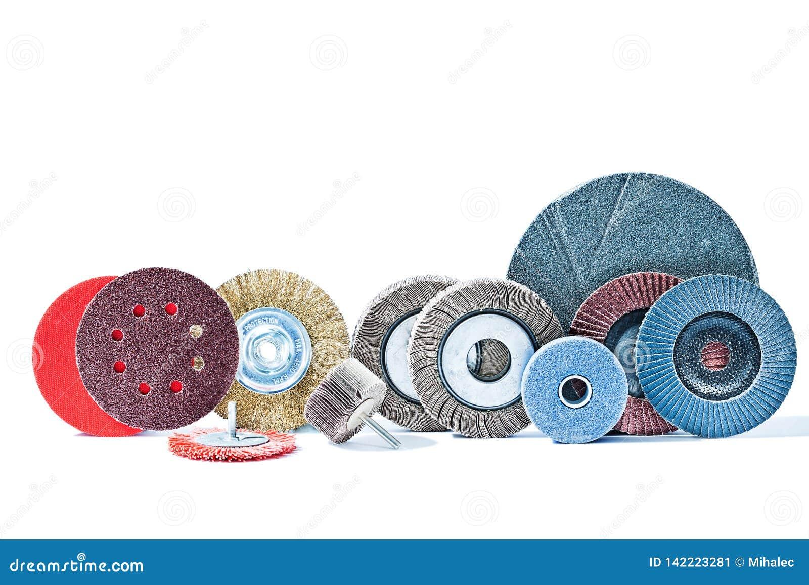 Stor uppsättning av roterande konstruktionshjälpmedel för slipande hjul som isoleras på vit