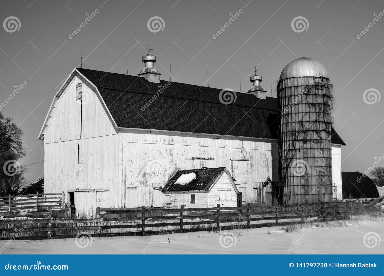 Stor vit ladugård med silon i vintersnö