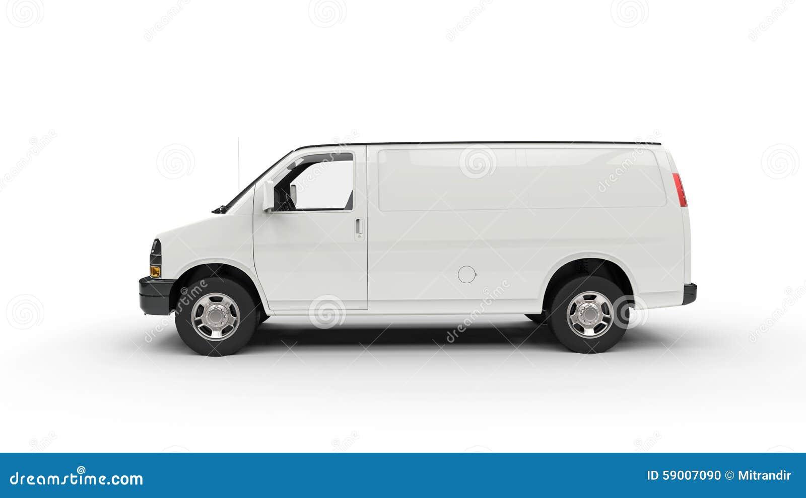 Stor vit skåpbil - sidosikt