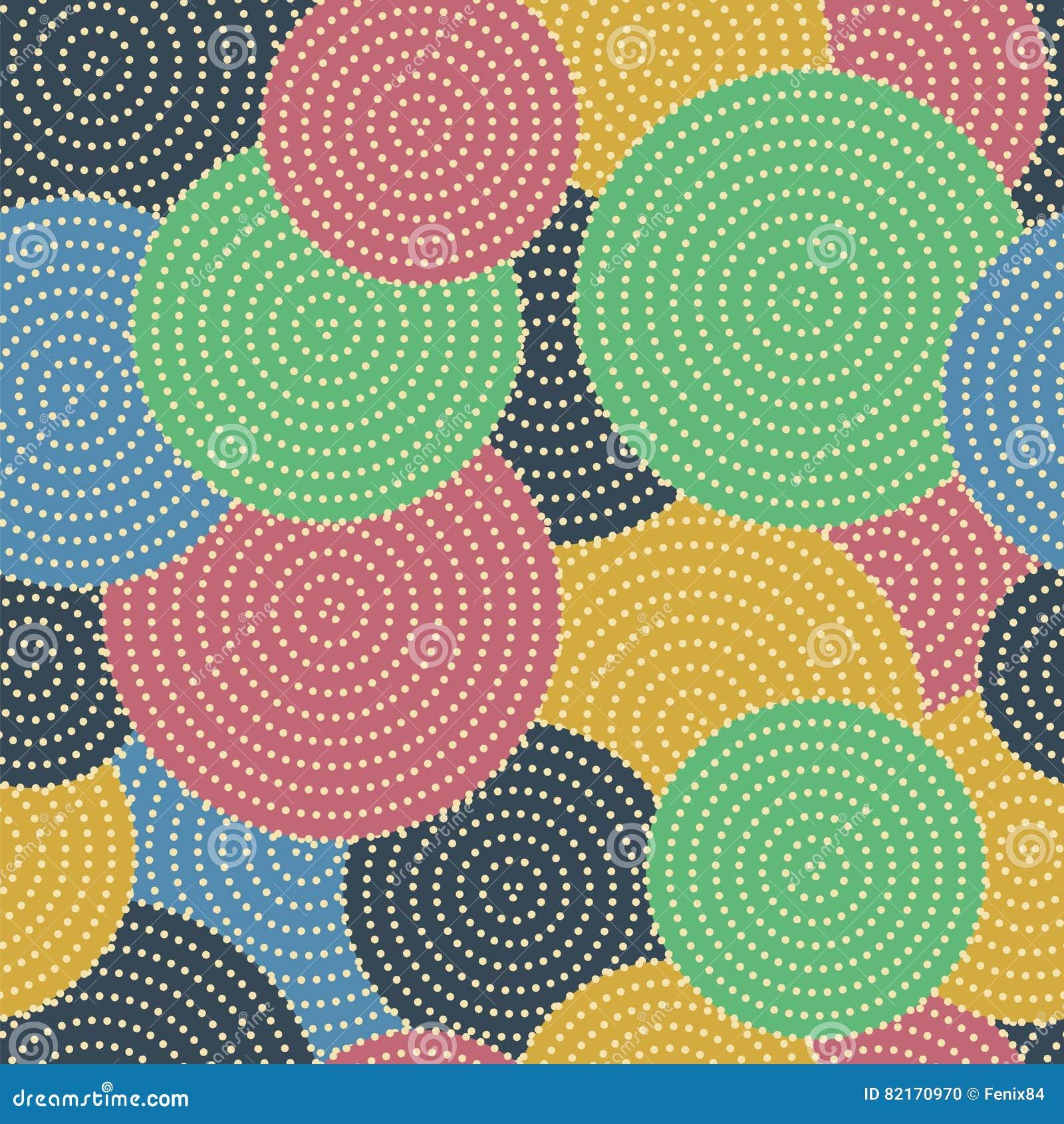 Stora Kulöra Cirklar Med Små Prickar I Cirklar Sömlös Vect Vektor ... 8ea6315f616c5