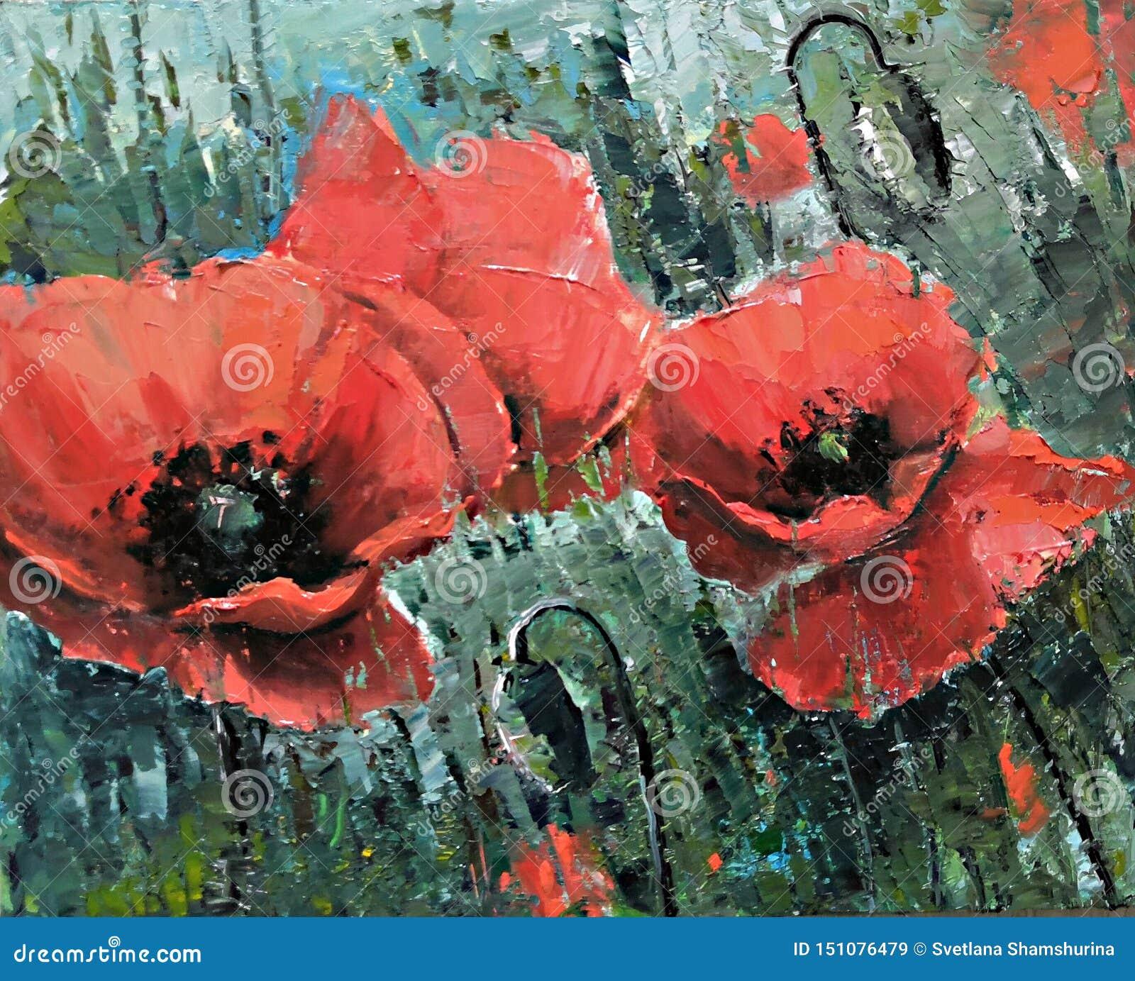 Stora röda vallmo på fältet - oljamålning vid palettkniven Stora r?da blommor Handgjord oljamålning på kanfas, bildmässig konst