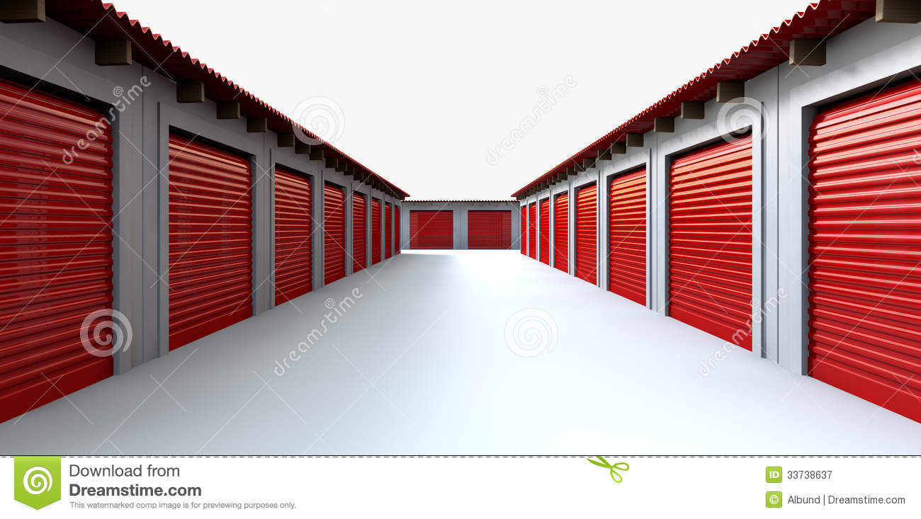 Storage Lockers Perspective Stock Illustration Image