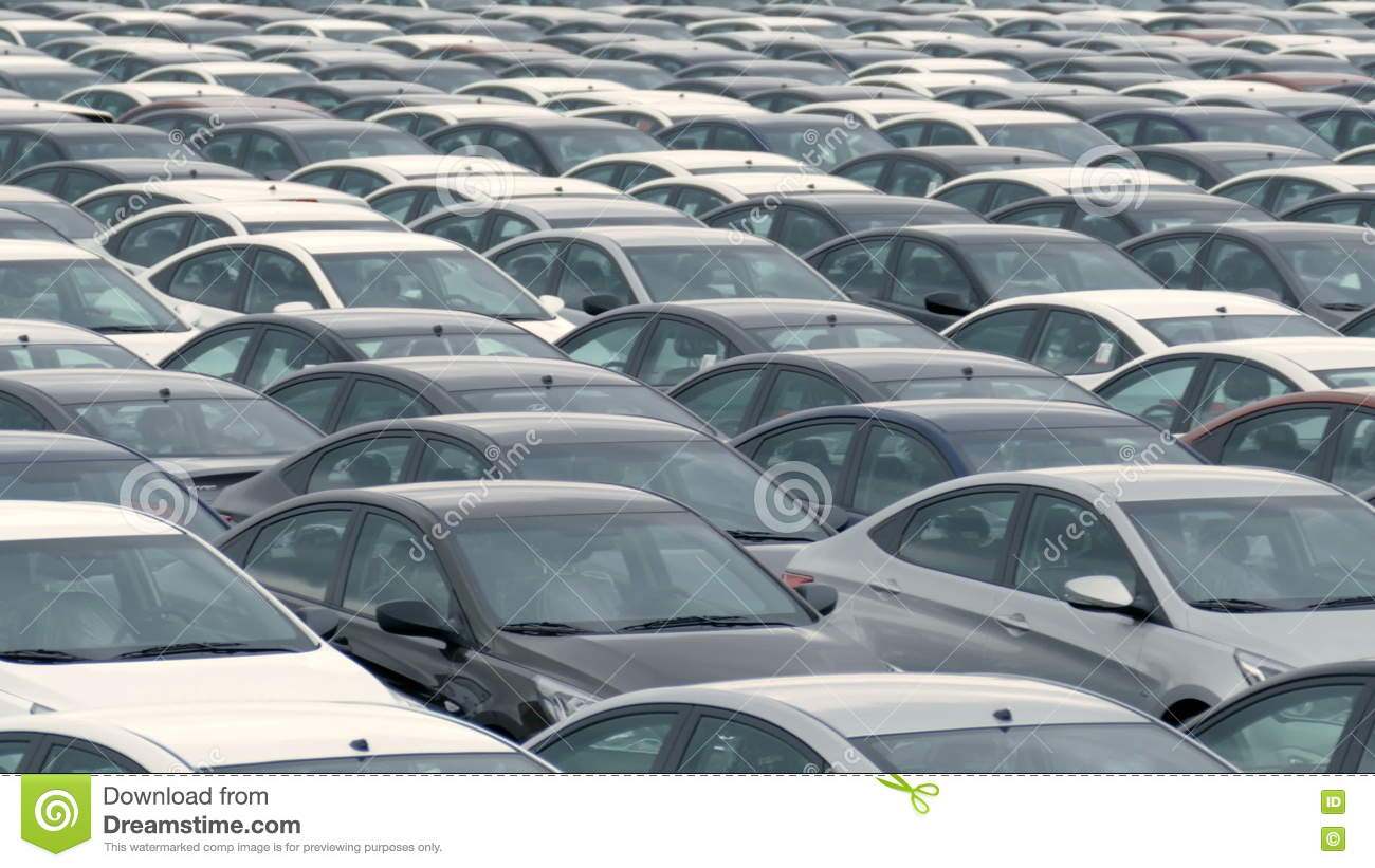 Storage Parking Lot Of New Unsold Cars Stock Footage - Video of ...