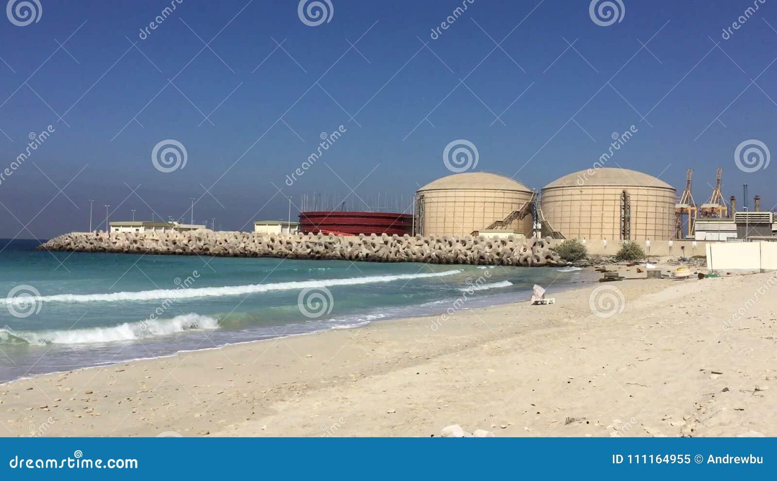 Storage tanks for salt water on desalination plant at seashore