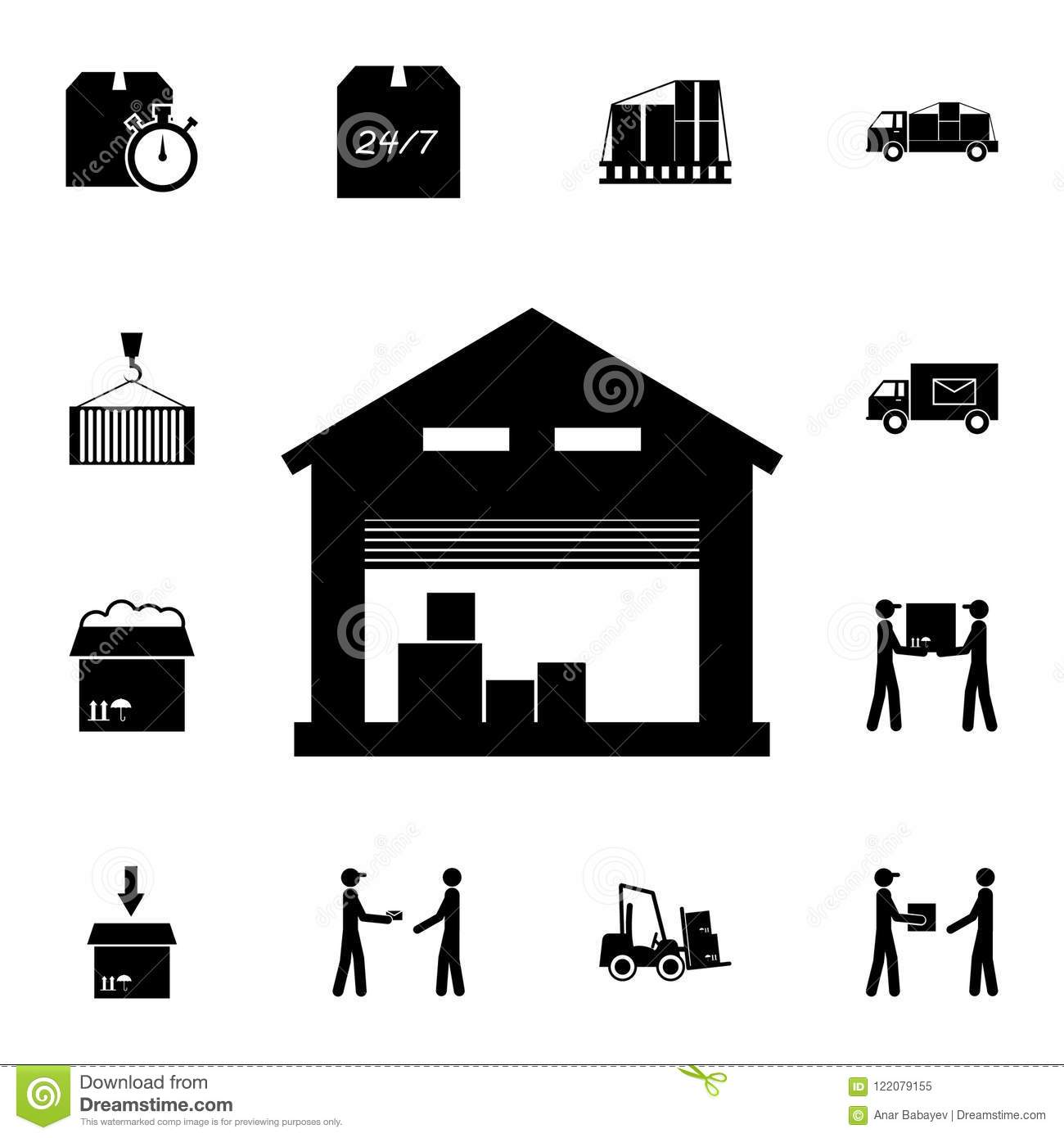 Storage Warehouse Icon  Detailed Set Of Logistic Icons