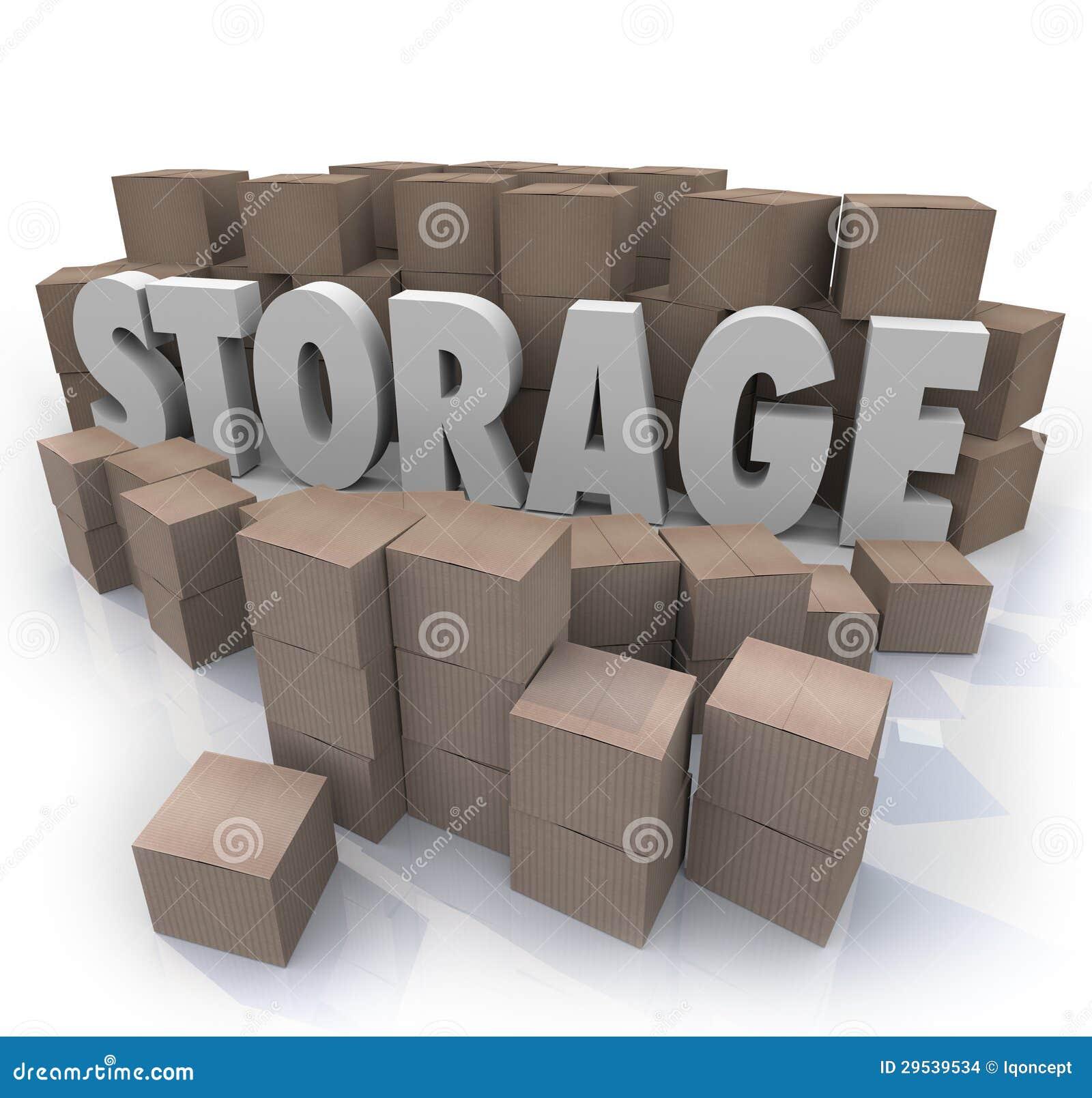 Storage Word Piles Cardboard Boxes Basement Locker Stock