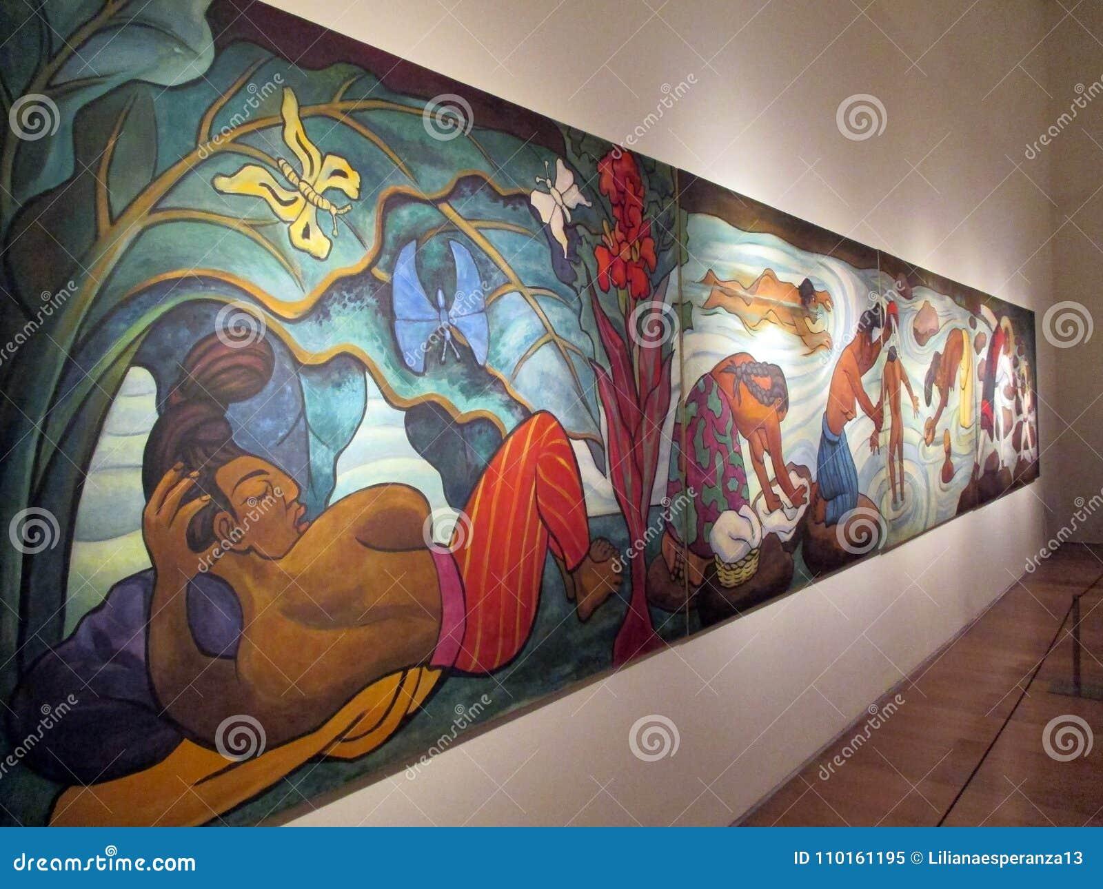 Storartad monumental målning av Diego Rivera ställde ut i Malbaen - Baile i Tehuantepec -