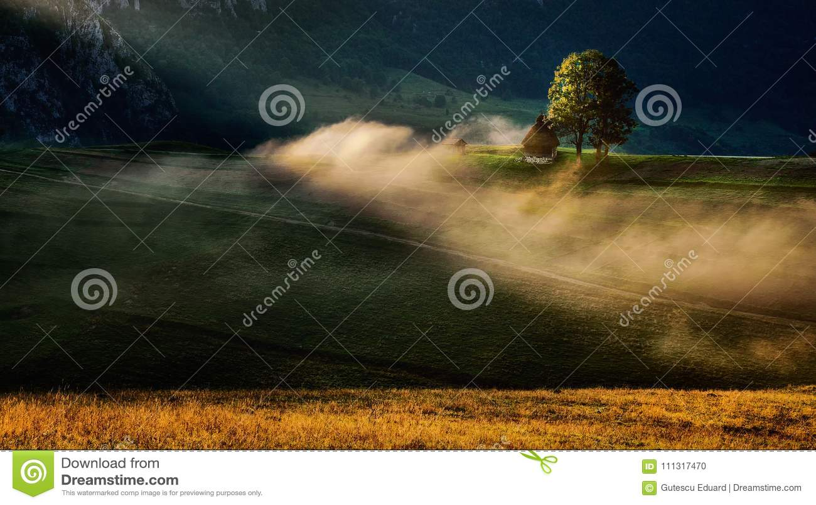 Storartad soluppgång i den Transylvania regionen med mist och solen ray