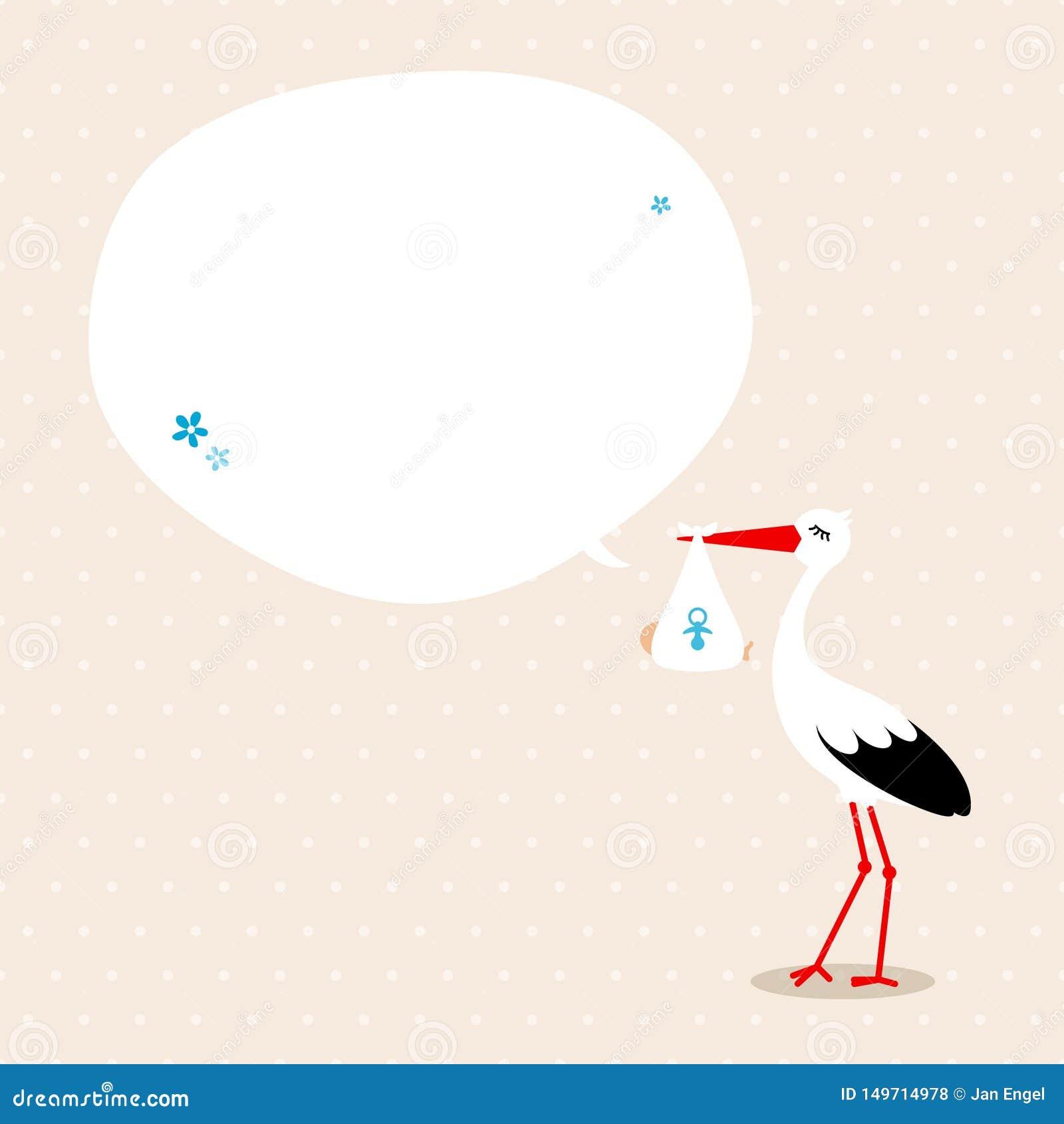 Storch mit beige Hintergrund-Punkten Baby Speechbubble