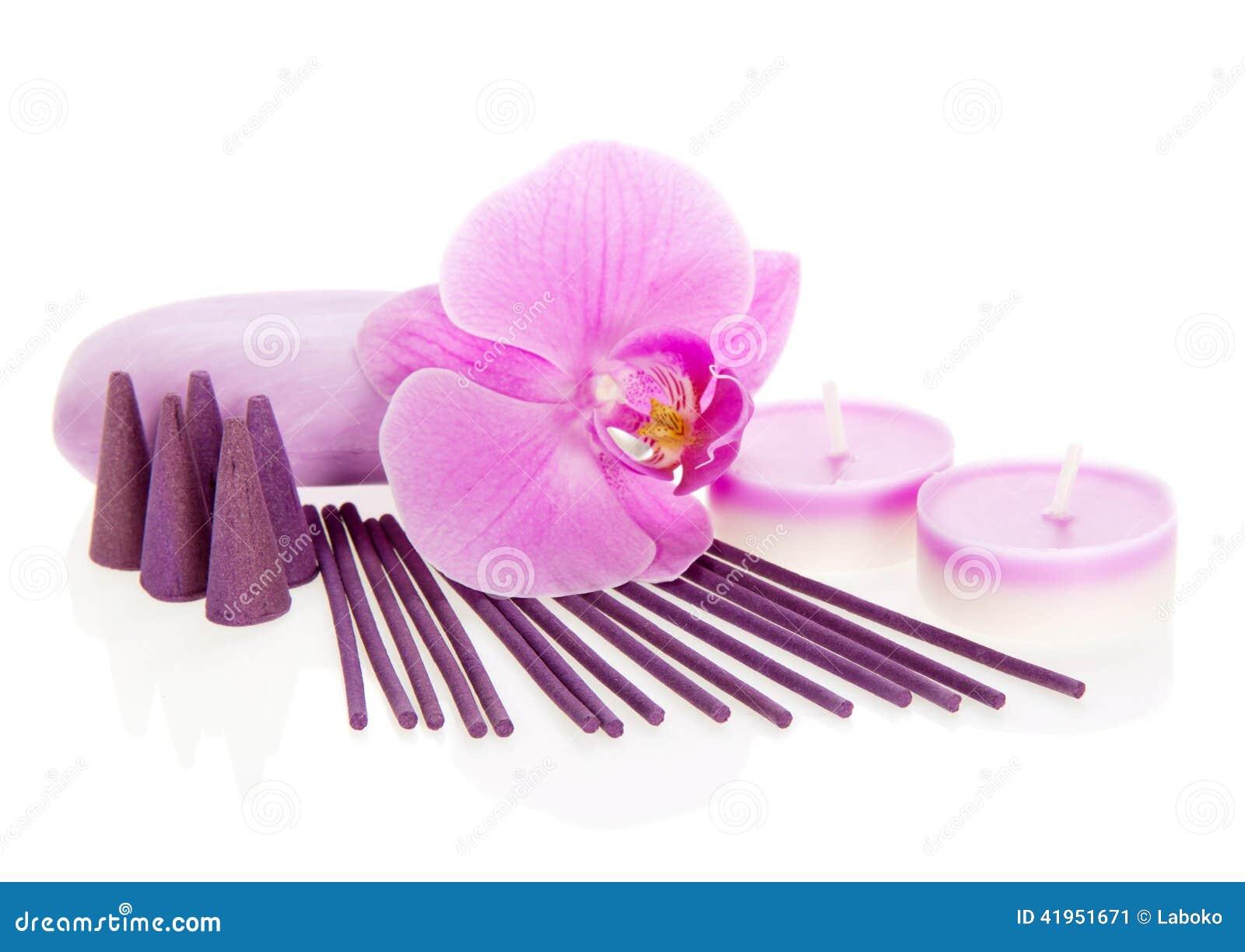 Storczykowy kwiat, aromatyczny set i mydło,