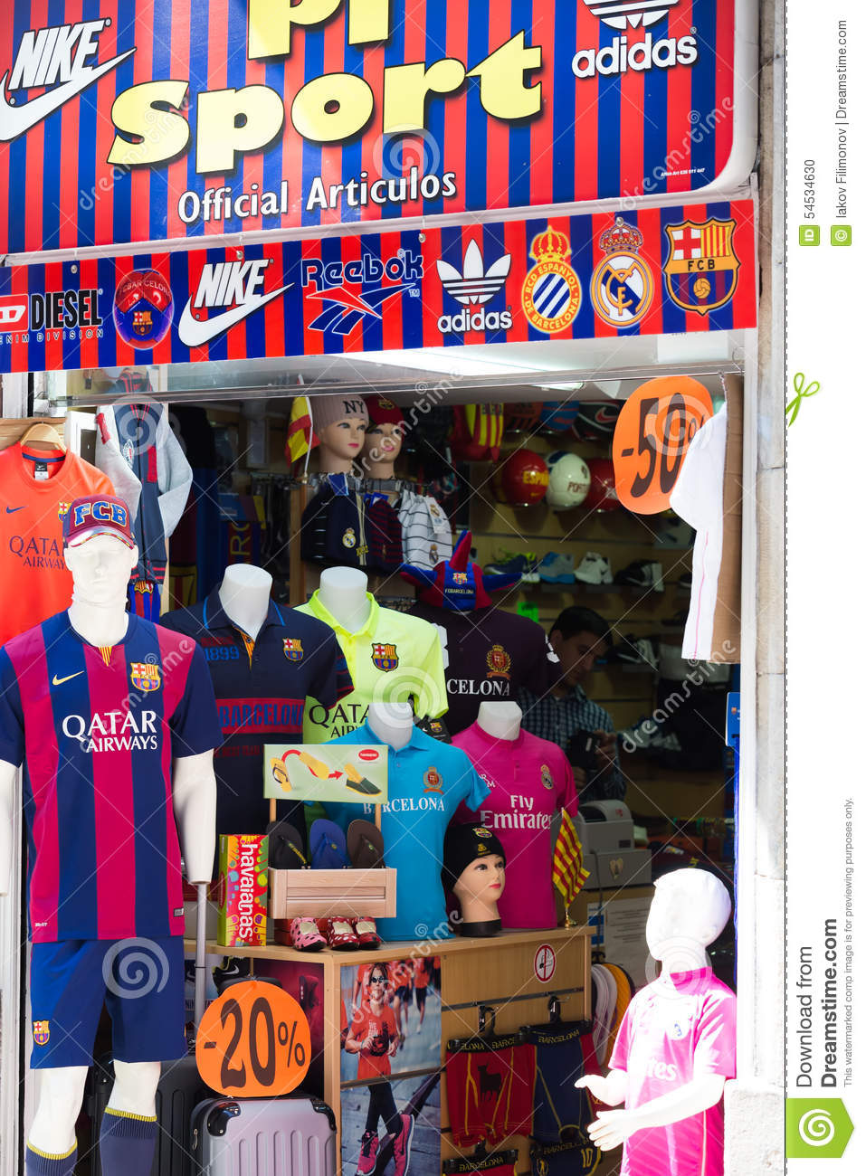 store of apparel and souvenirs with fc barcelona symbolics editorial image image 54534630. Black Bedroom Furniture Sets. Home Design Ideas