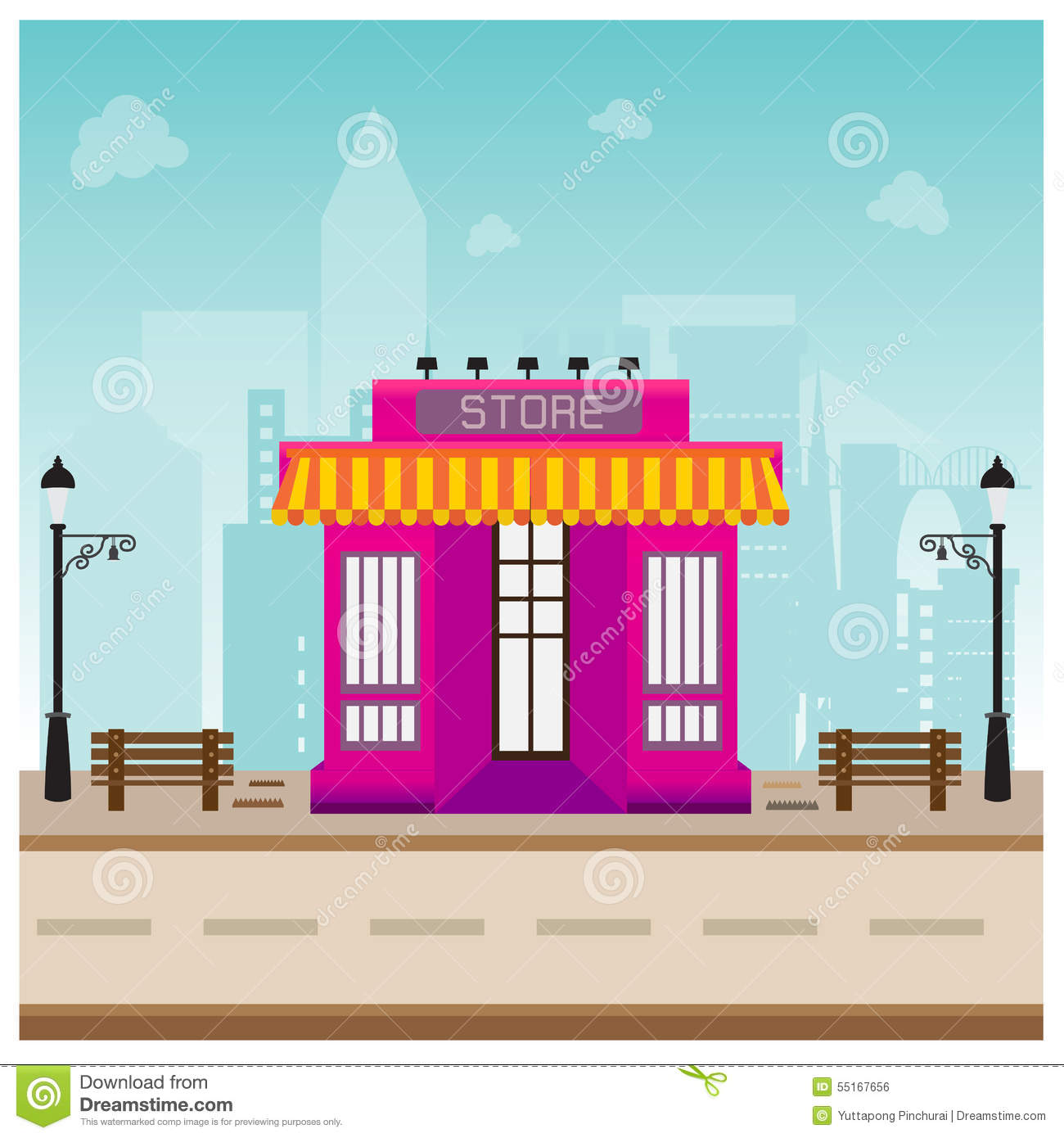 Store building in city space with road blue background for Store building design