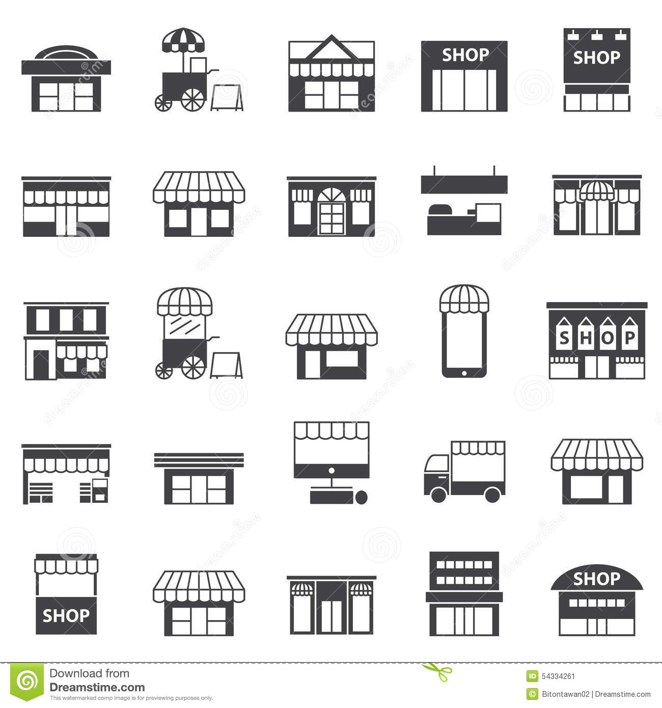 Store and building icon set stock vector image 54334261 for House builder online free