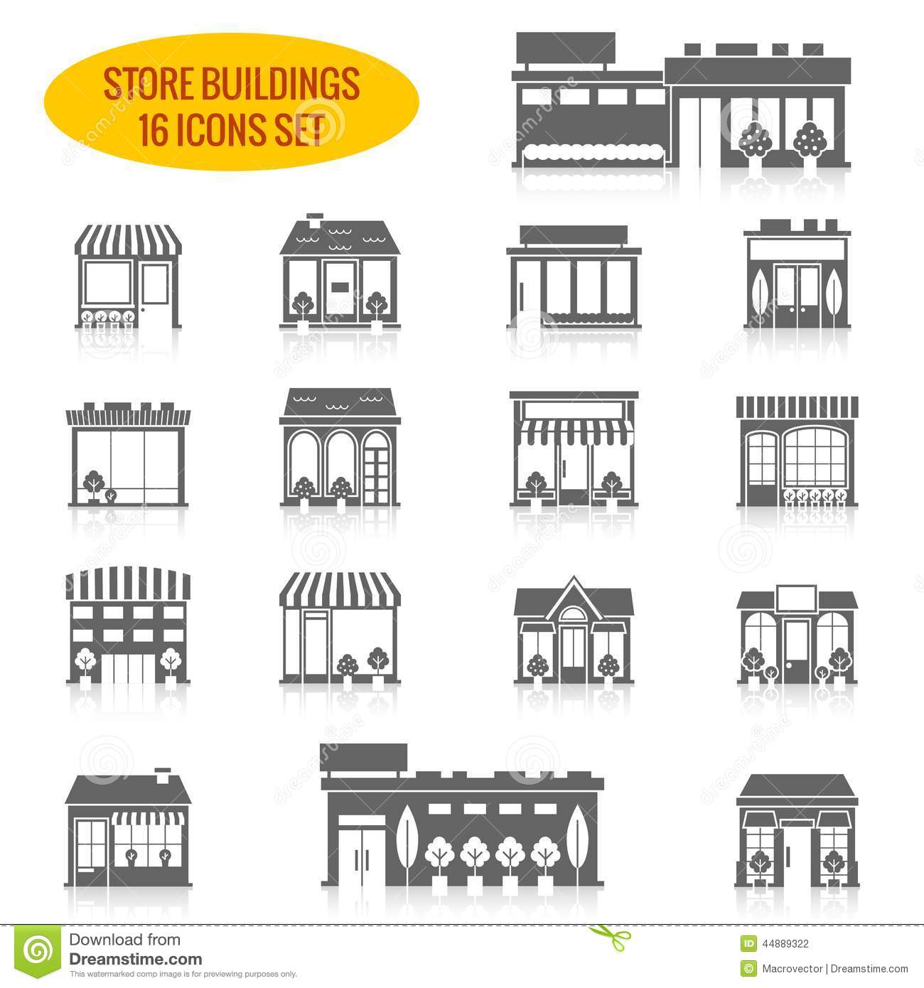 Store Building Icons Set Black Stock Vector Image 44889322