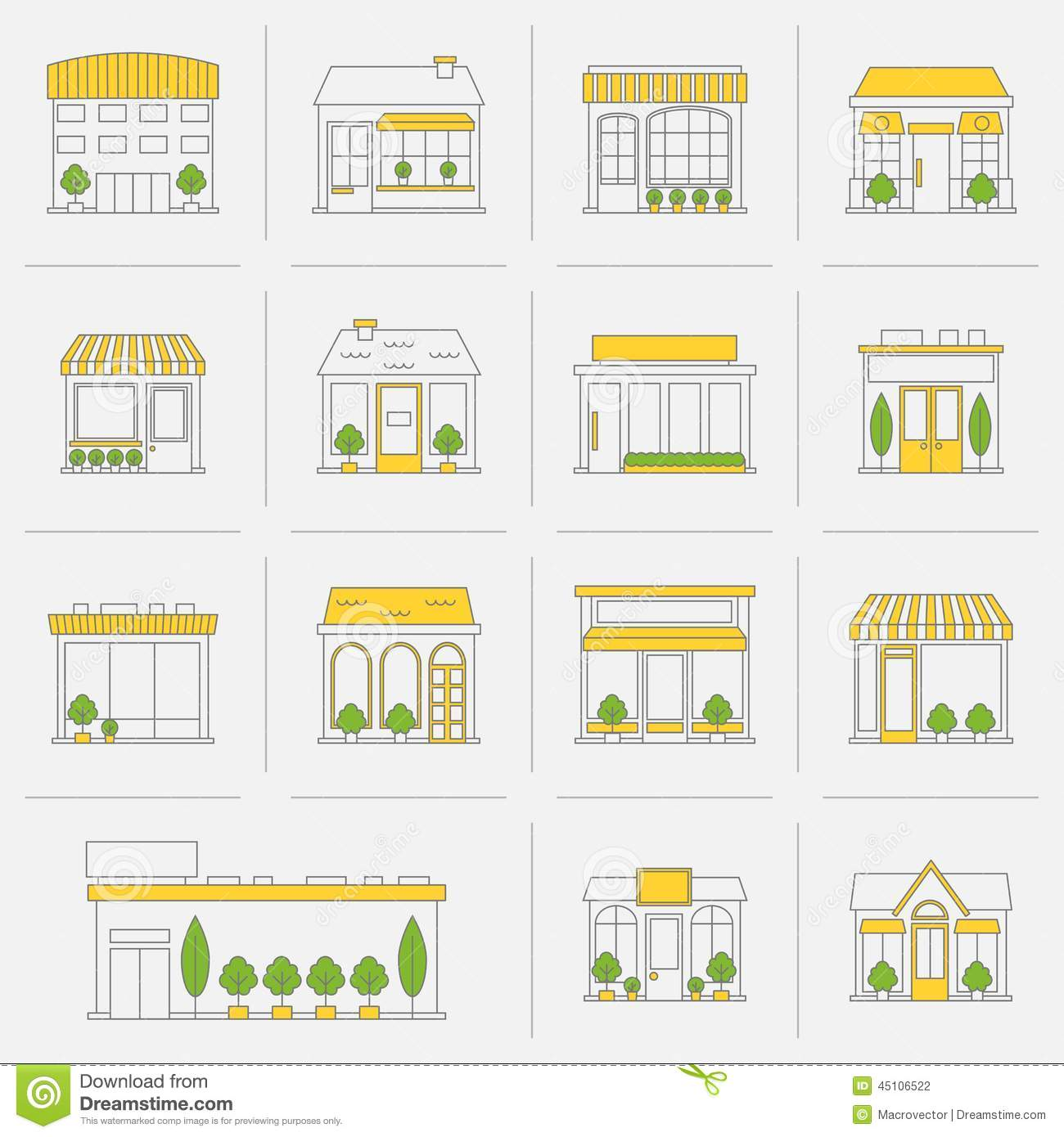 Store shop business buildings flat line icon set isolated vector ...