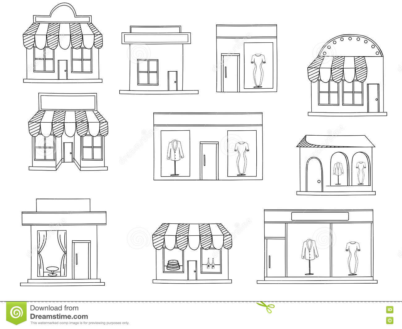 Store Buildings Coloring Book Vector Stock Vector - Illustration of ...