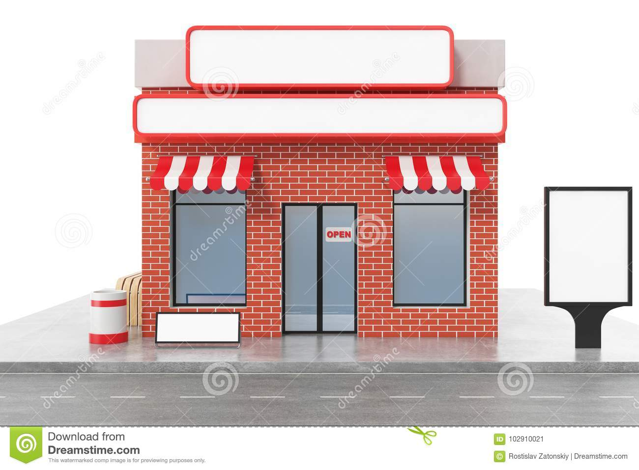 Store With Copy Space Board Isolated On White Background