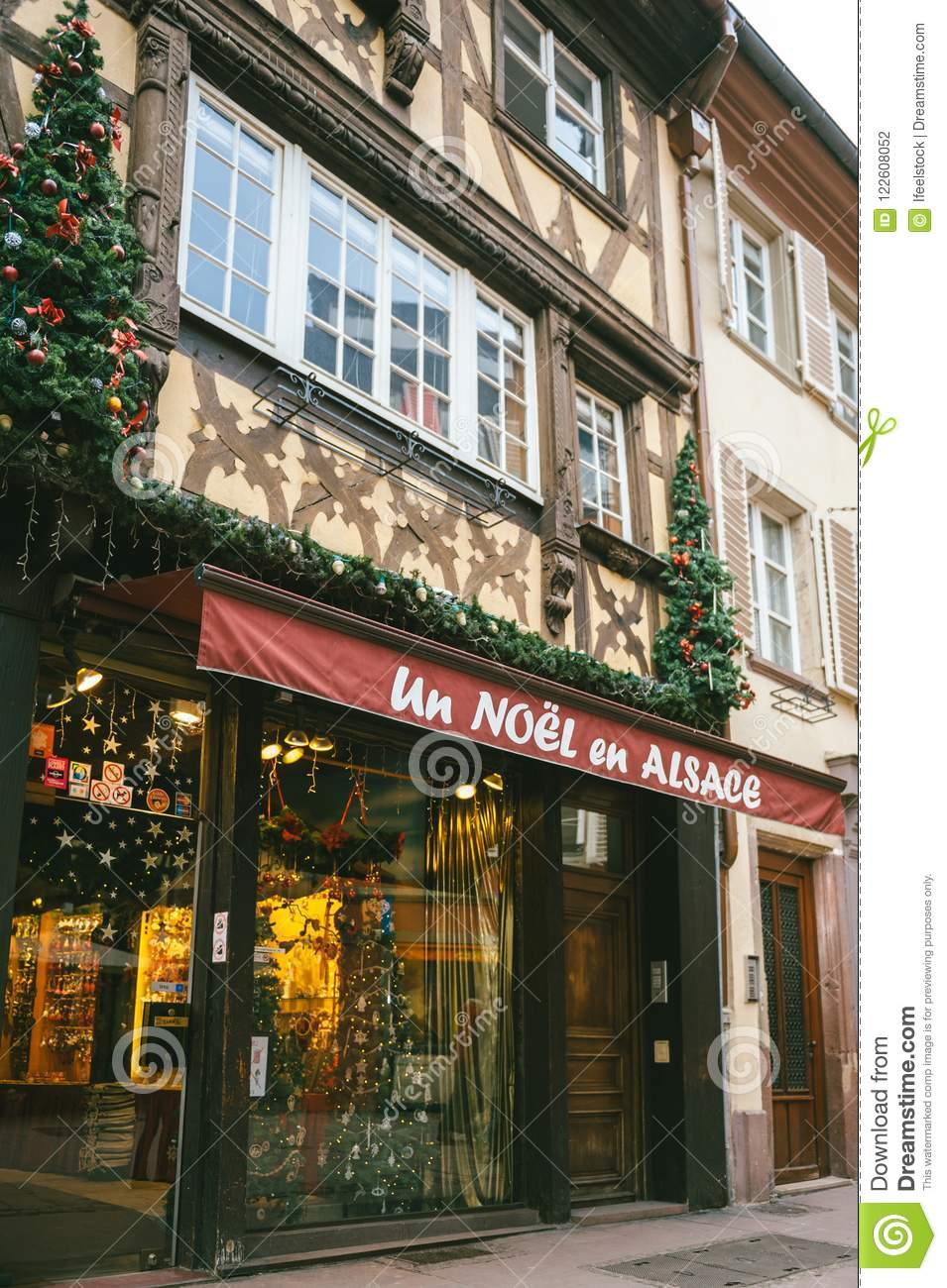 Store Facade Selling All Year Round Christmas Decorations In Str ...