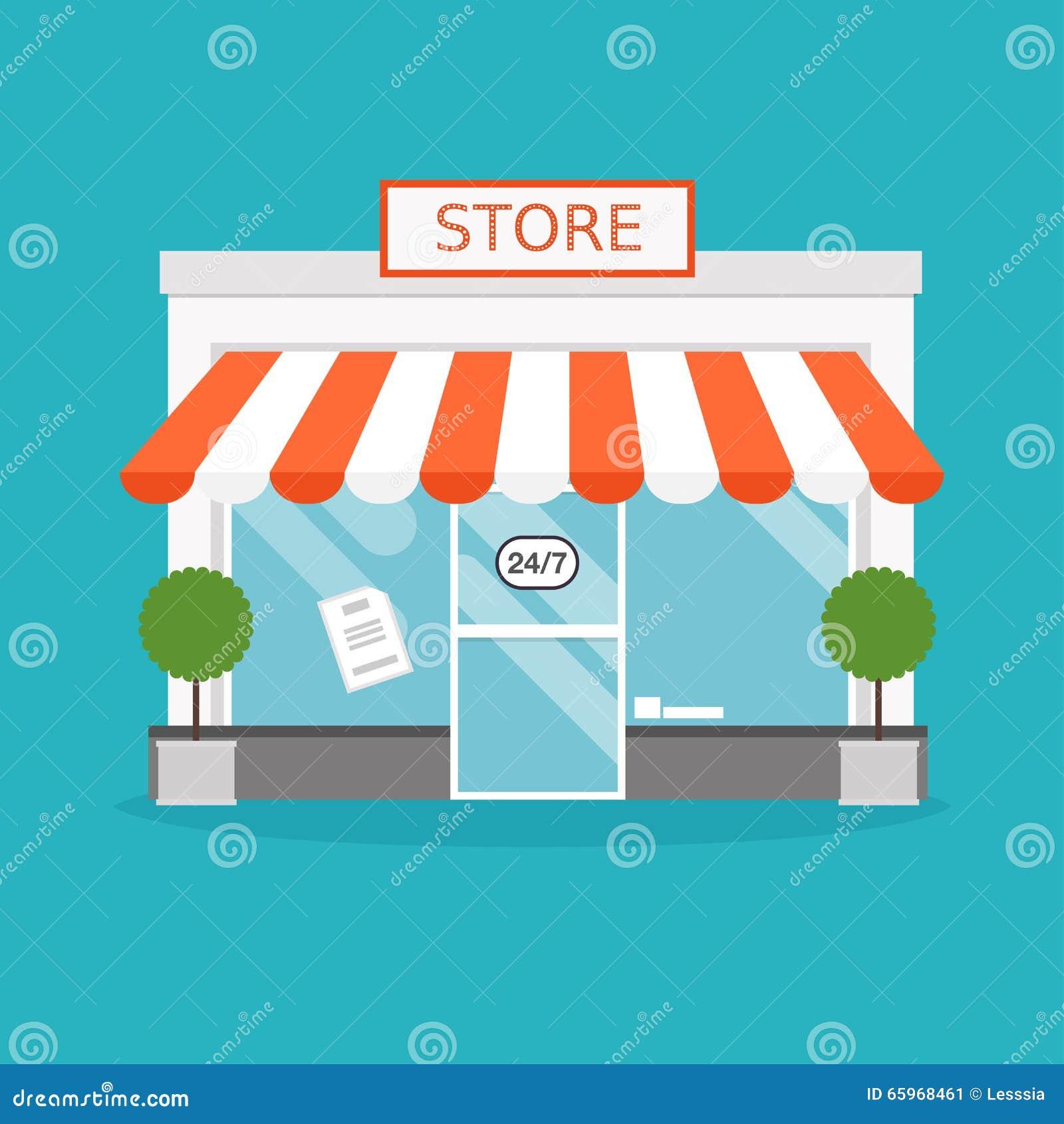 Vector Illustration Web Designs: Store Facade. Vector Illustration Of Store Building. Stock