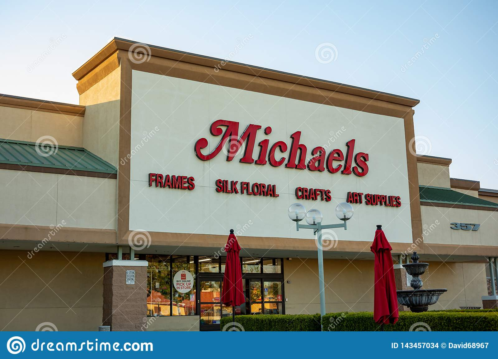 A store front sign for Michaels