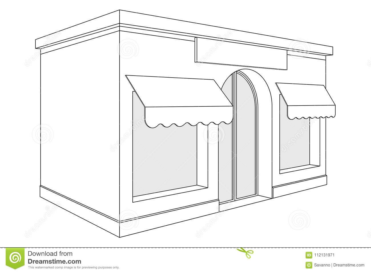 Store Front Small Shop With Large Window And Awnings