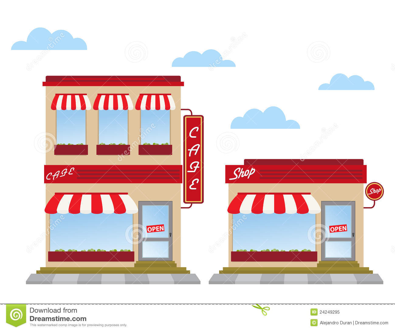 Store fronts stock vector. Illustration of cute, office ...