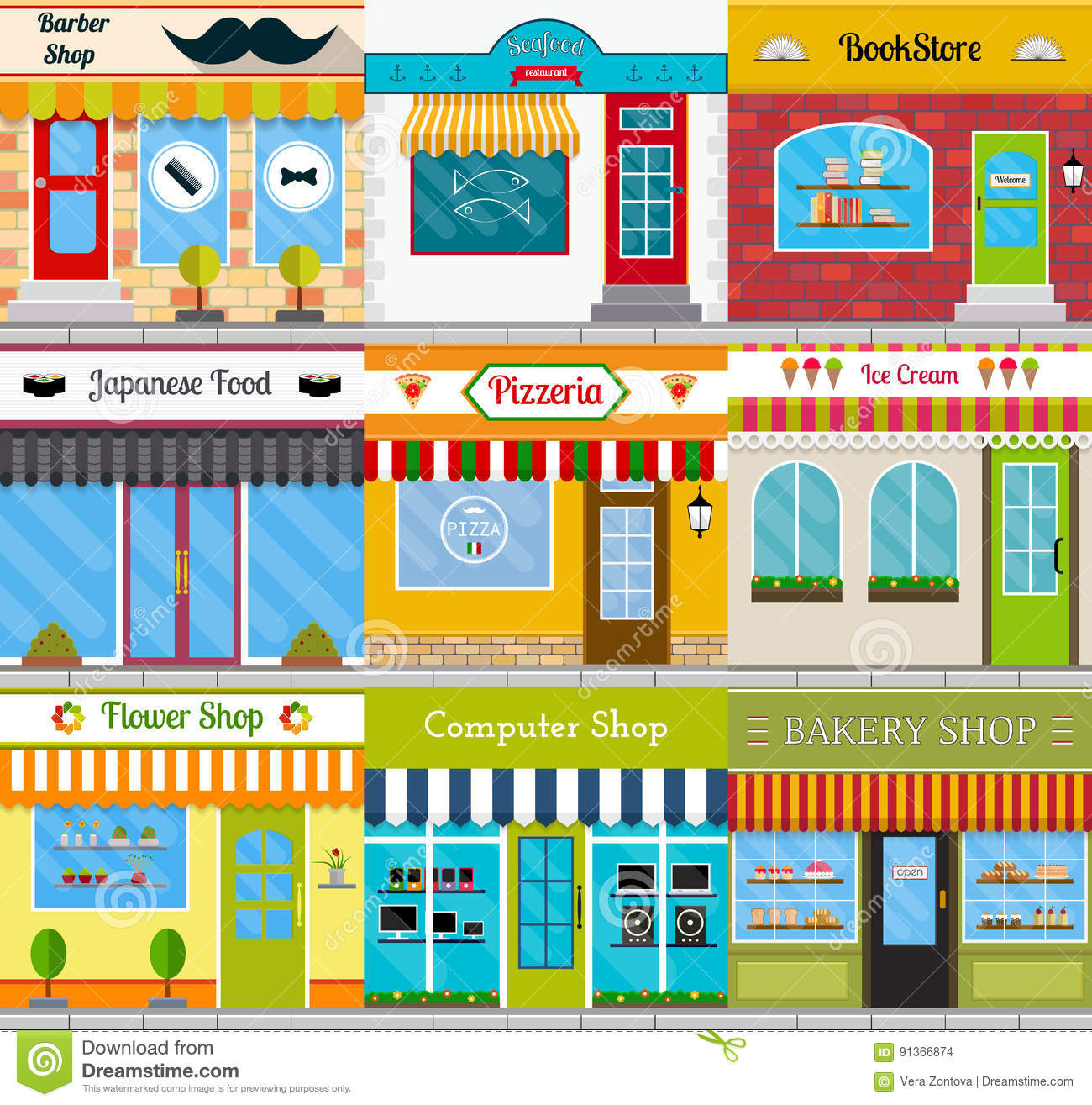 Store Fronts And Building Facades Set Stock Vector Illustration Of Architecture Cuisine 91366874