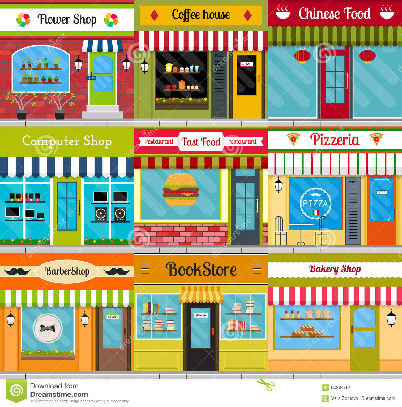 Store Fronts And Restaurant Facades Set Stock Vector Illustration Of Construction Facade 90864791