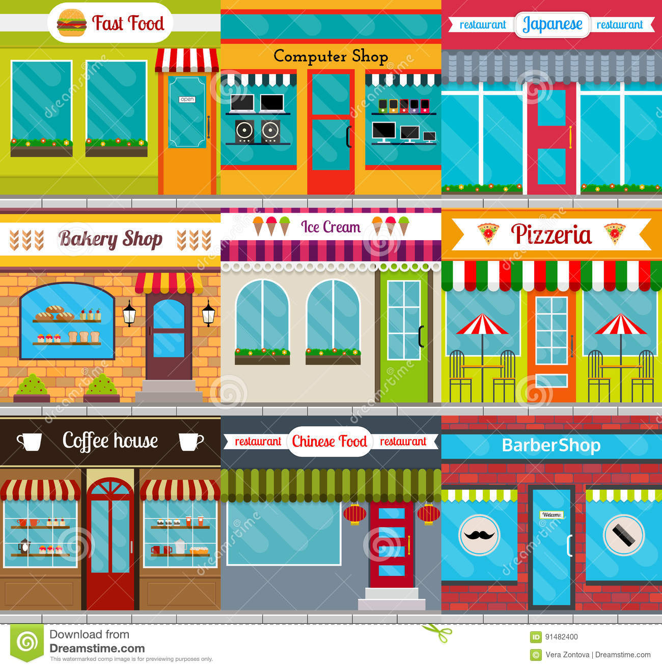 Store Fronts And Restaurants Facades Set Stock Vector Illustration Of Fronts Exterior 91482400