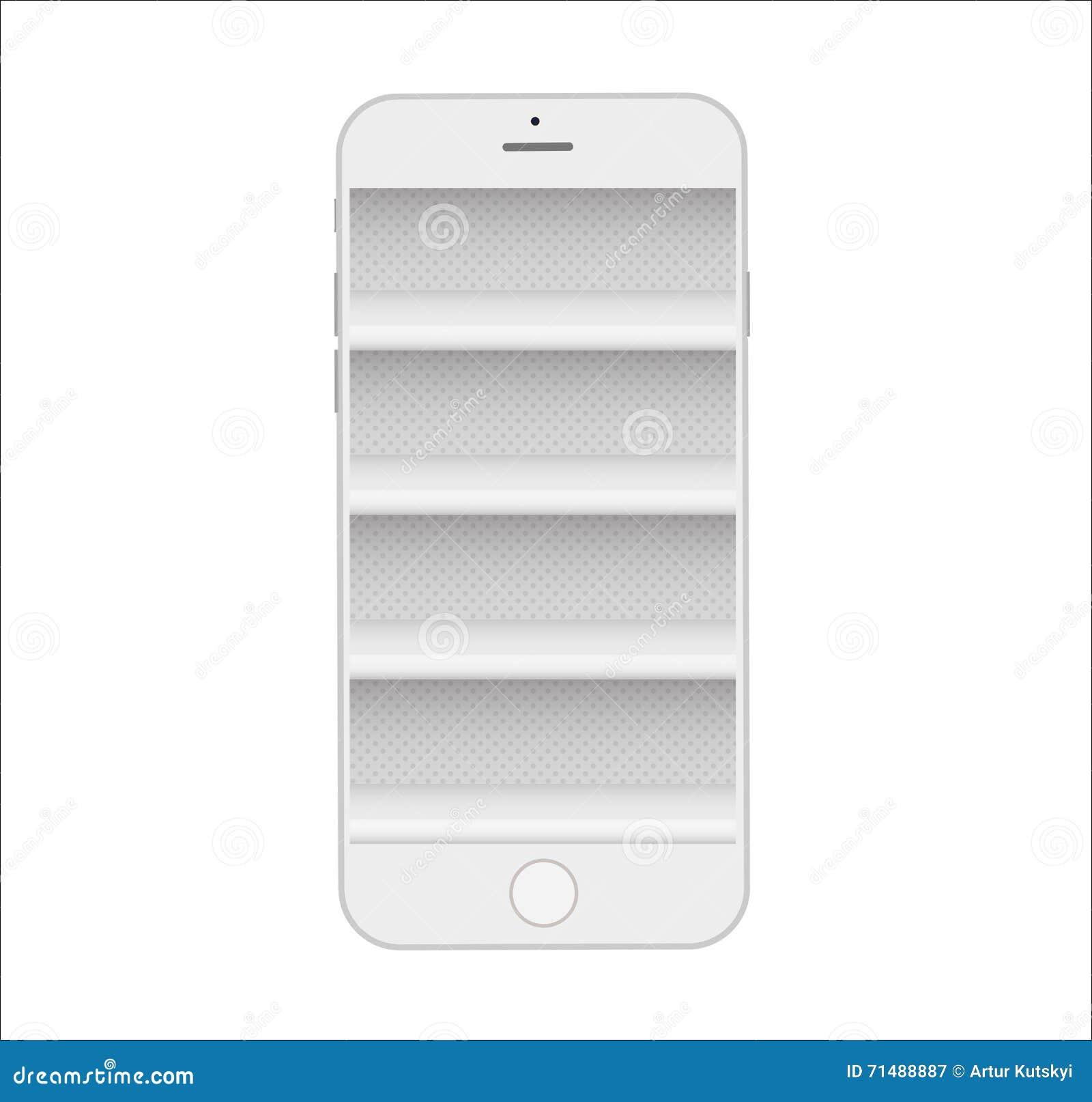 Store shelves in phone online e commerce mobile shopping for E commerce mobili