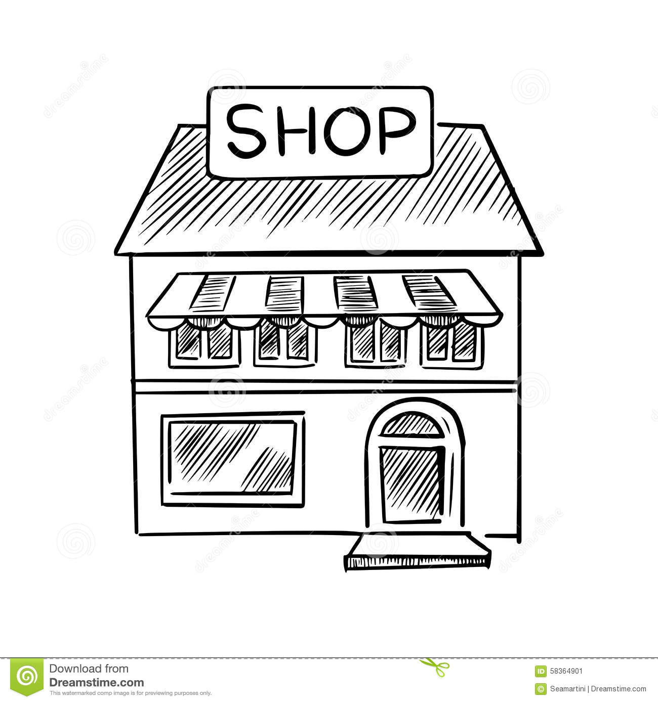 Store Sketch With Shop Signboard Stock Vector ...