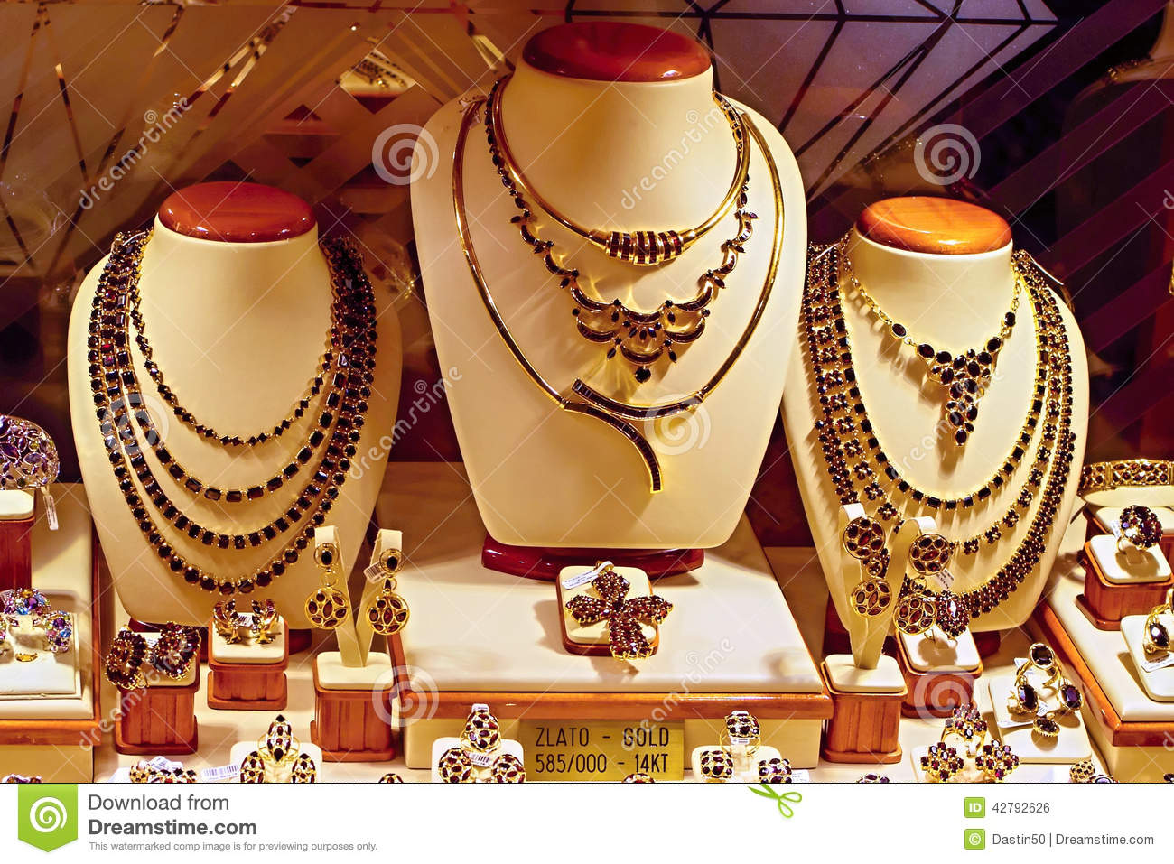 Store Window Display Of Gold And Garnet Jewelry Stock Photo Image