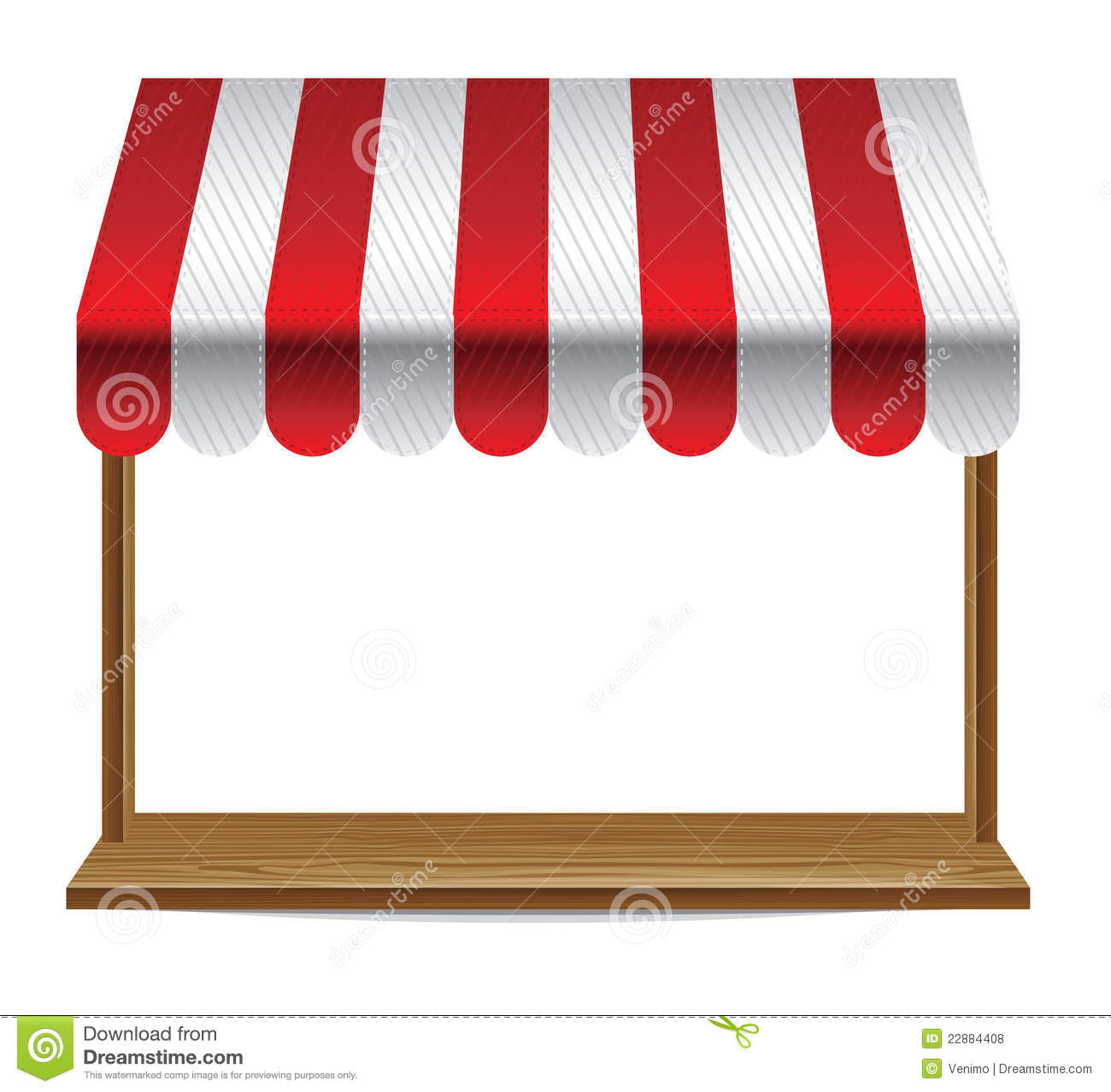 Store Window With Striped Awning Stock Vector Image
