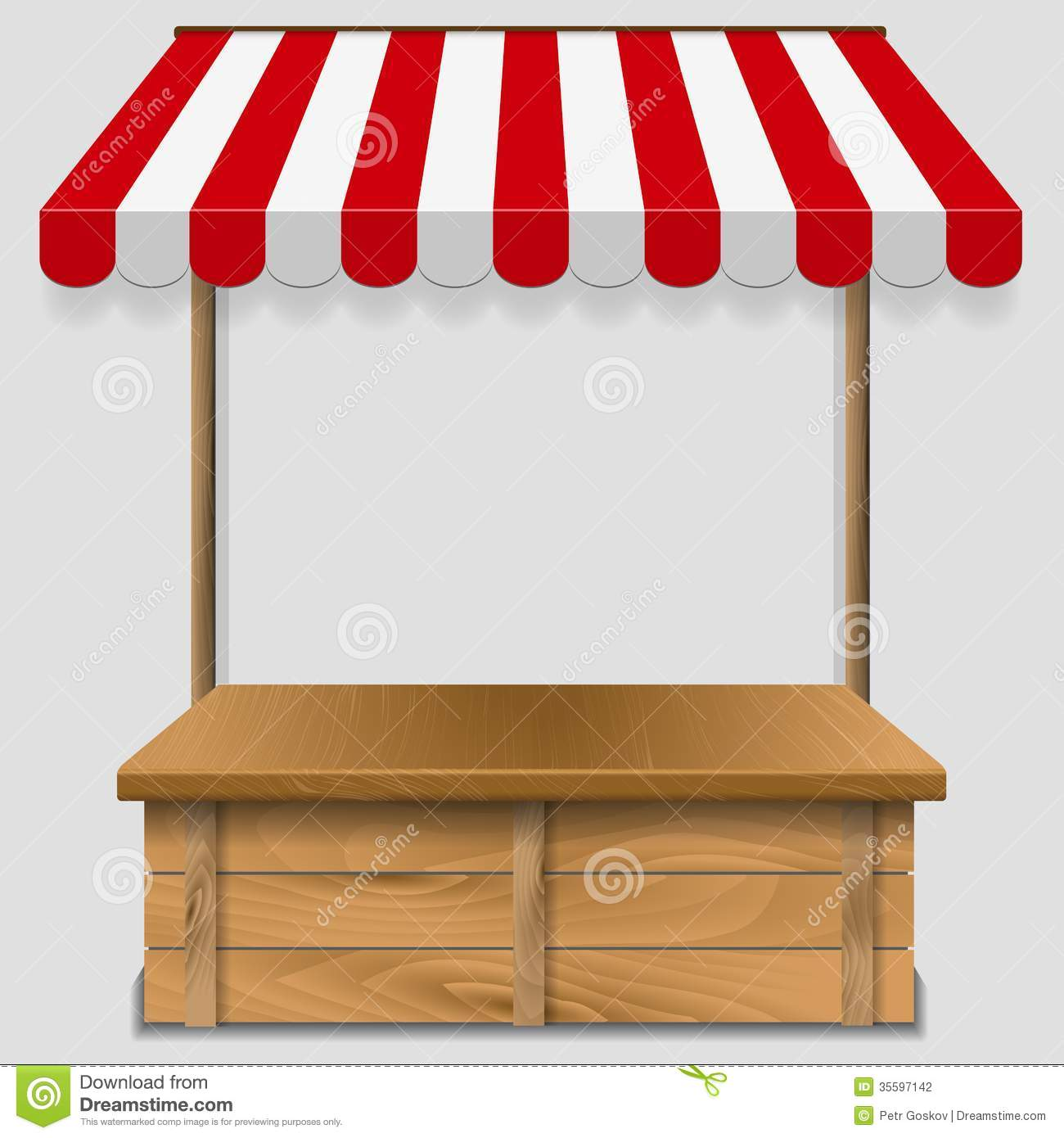 Store Window With Striped Awning Stock Vector - Image ...