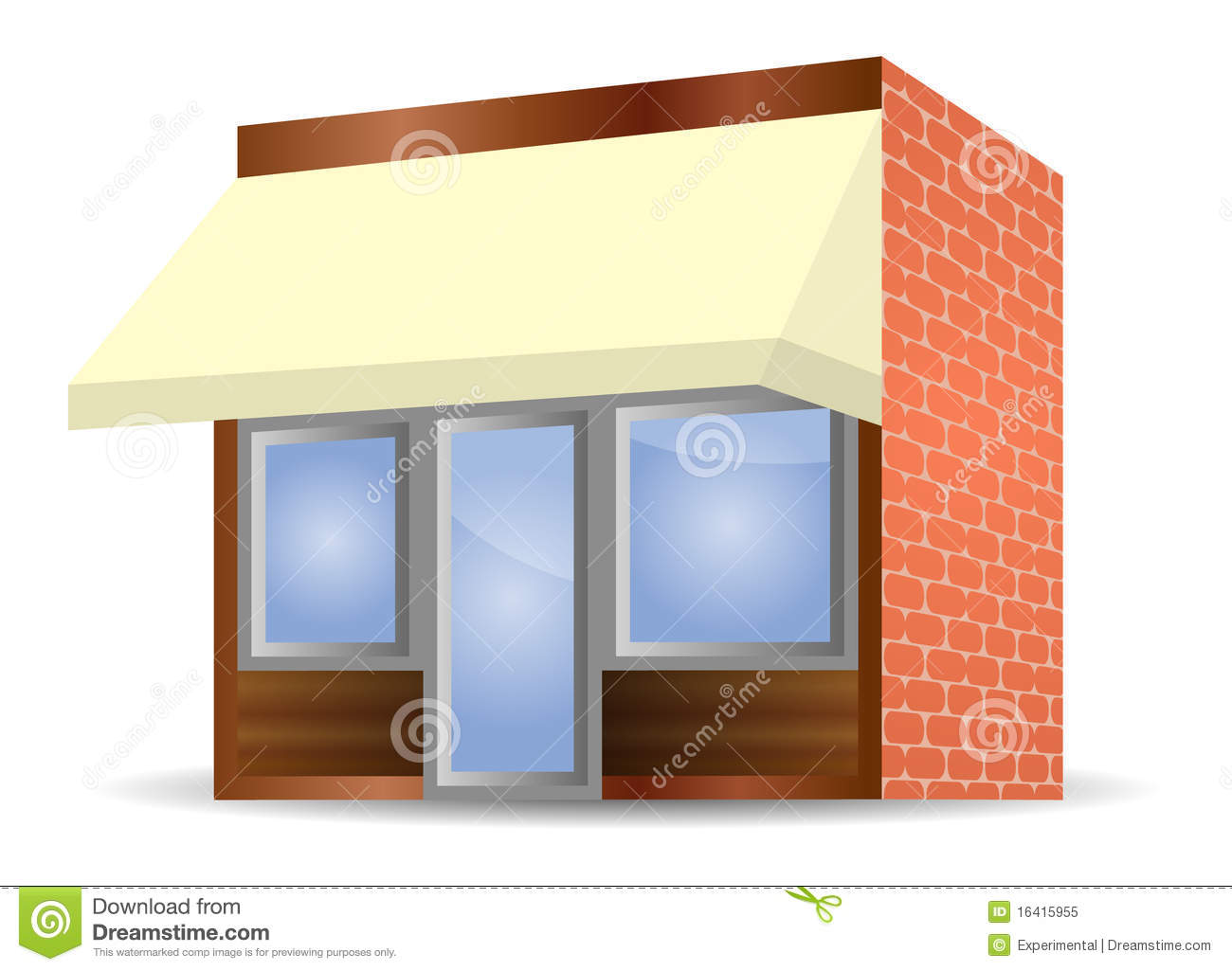 Storefront Awning In Yellow Royalty Free Stock Photo