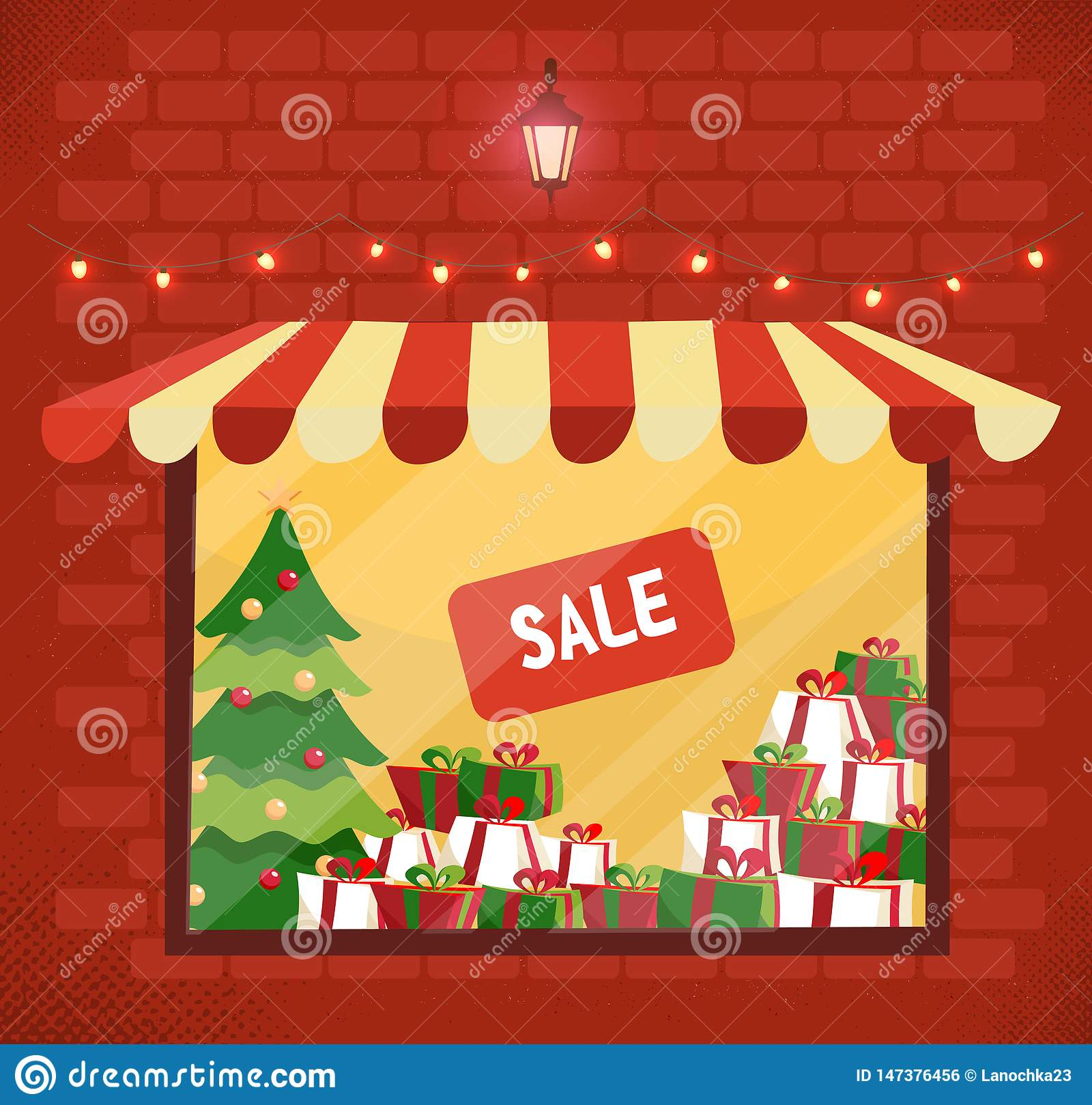 Storefront with Christmas gifts sale. Store and storefront window facade. Lighting shop window with sunblind in brick wall. Stacks