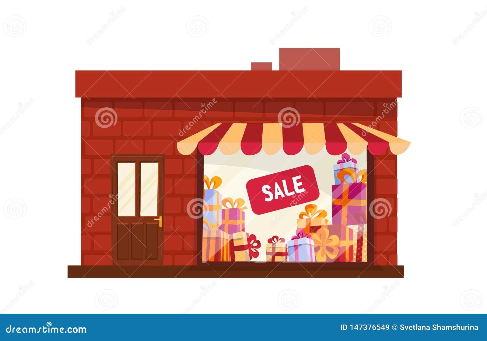 Storefront, de opslagbouw, voorgevel vooraanzicht geïsoleerde beeldverhaal van de het beeldverhaal vectorillustratie van het wink