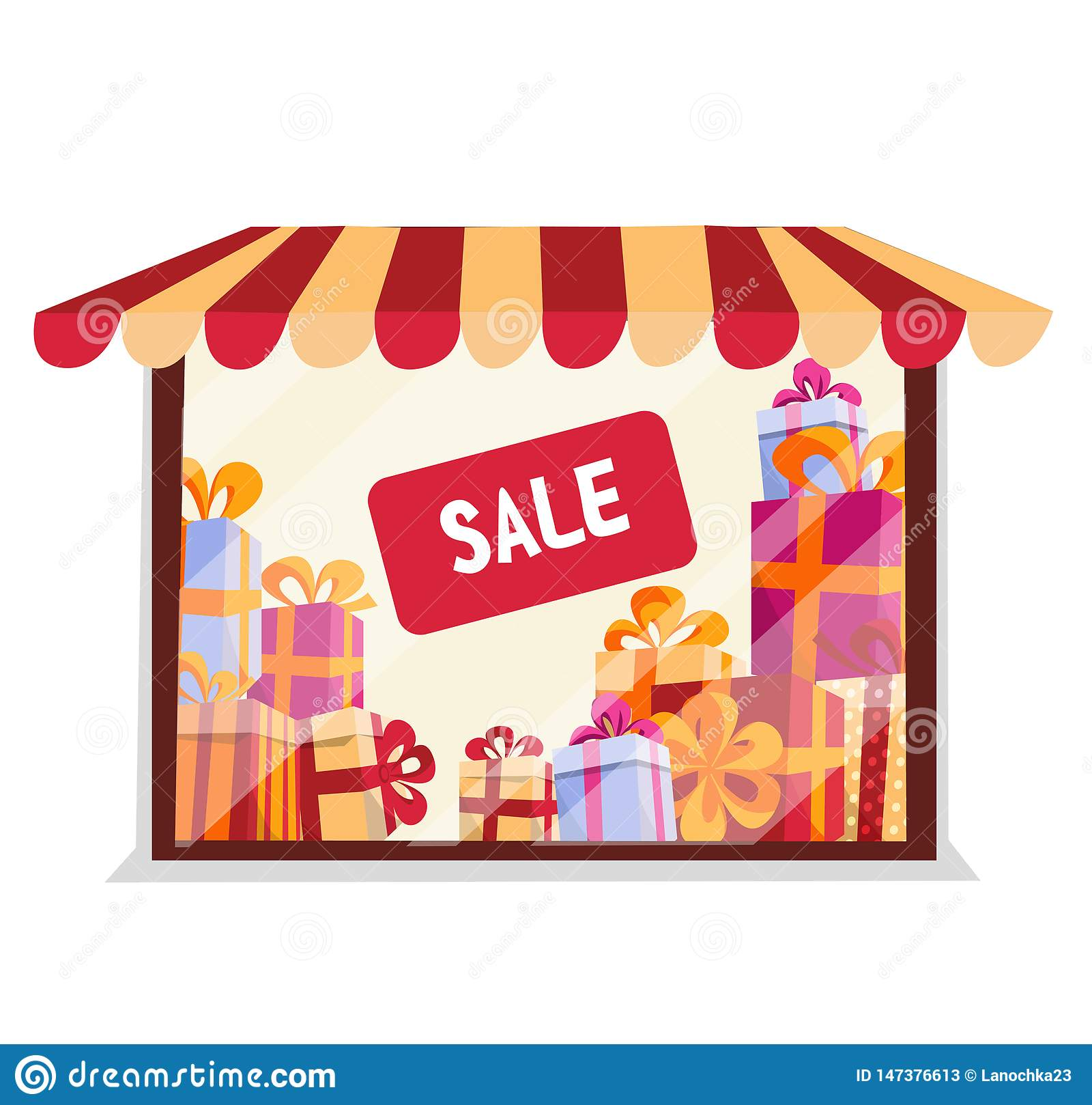 Storefront With Gifts For Sale On White Background ...