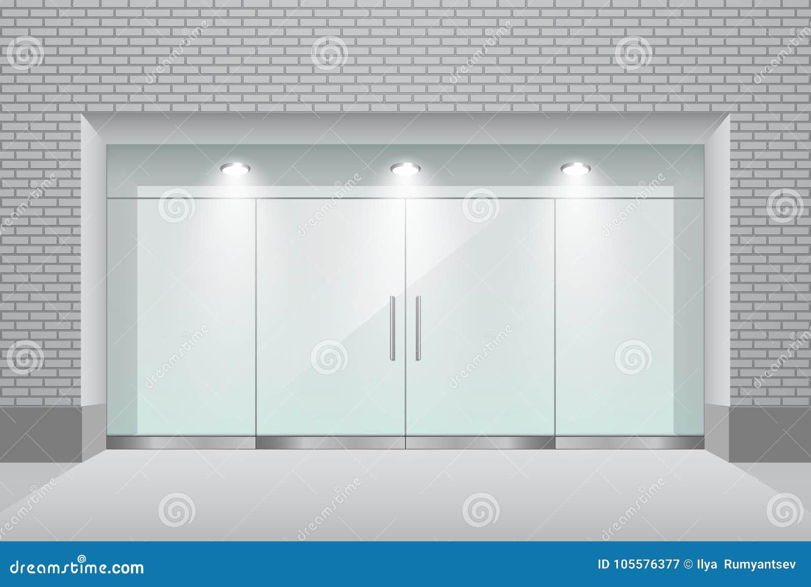 Storefront Met Bakstenen Muur En Glas Dubbele Deur Vector