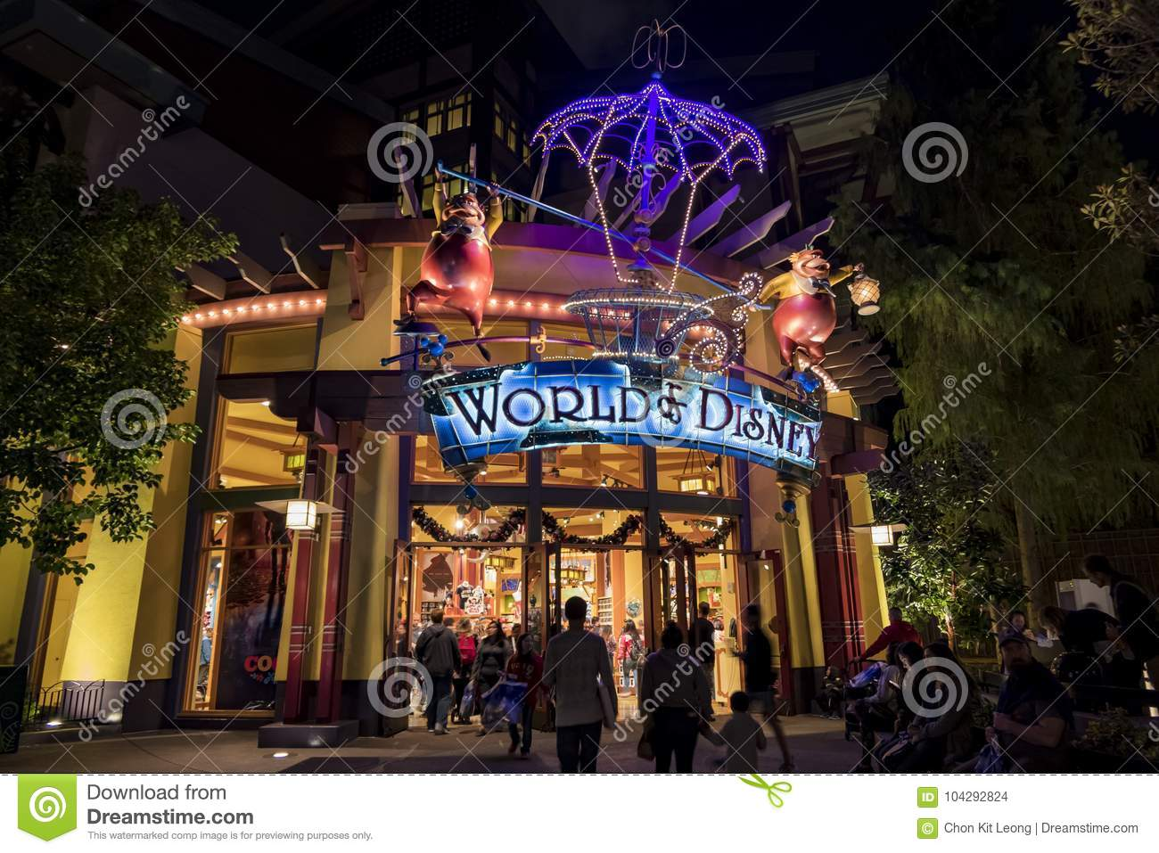 Stores In The Famous Downtown Disney District Disneyland Resort Editorial Stock Image Image Of California Lights 104292824