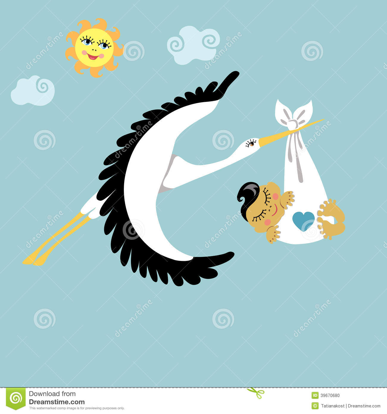 Greetings newborn baby boy stock photo image of mother infant stork with asian newborn baby boy flying in sky stock photo kristyandbryce Gallery