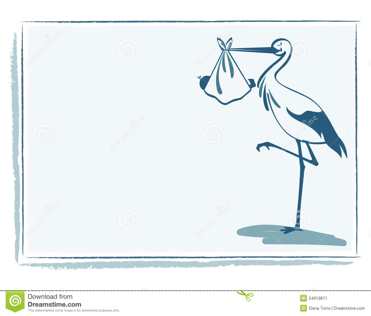 Stork With Baby Boy Card Vector Image Image 24919871 – Stork Birth Announcement