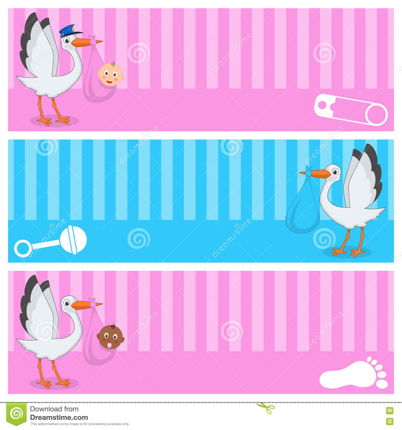 Stork With Baby Boy & Girl Banners Set Stock Vector - Image: 70793618