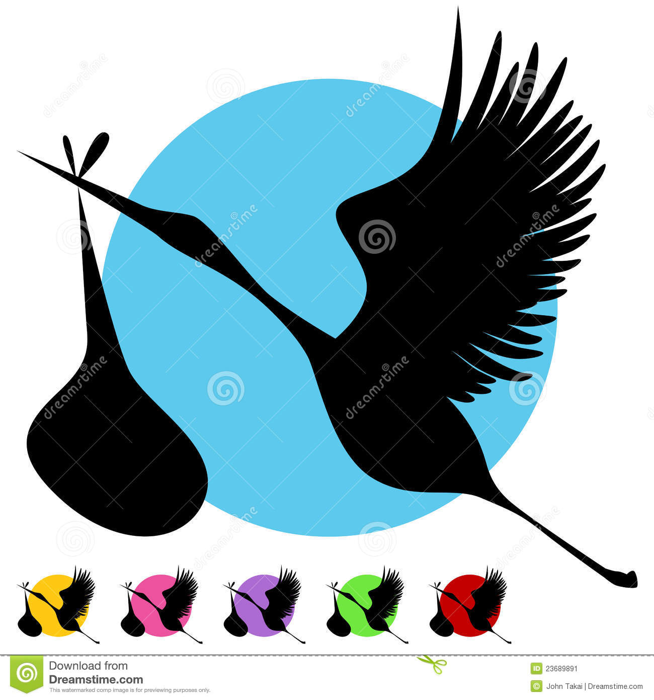 Stork Baby Delivery Set Stock Vector Illustration Of