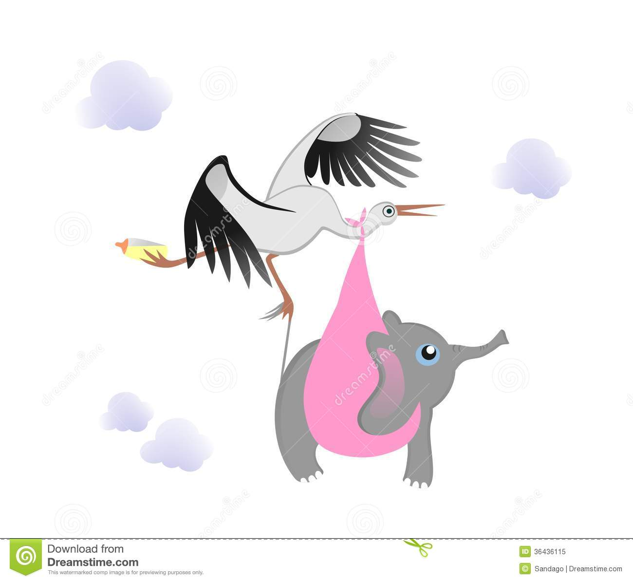 stork with baby elephant royalty free stock photo
