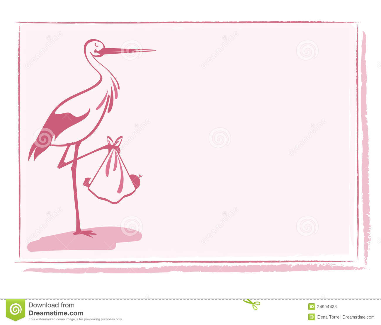 Stork With Baby Girl Card Vector Stock Vector - Image ...