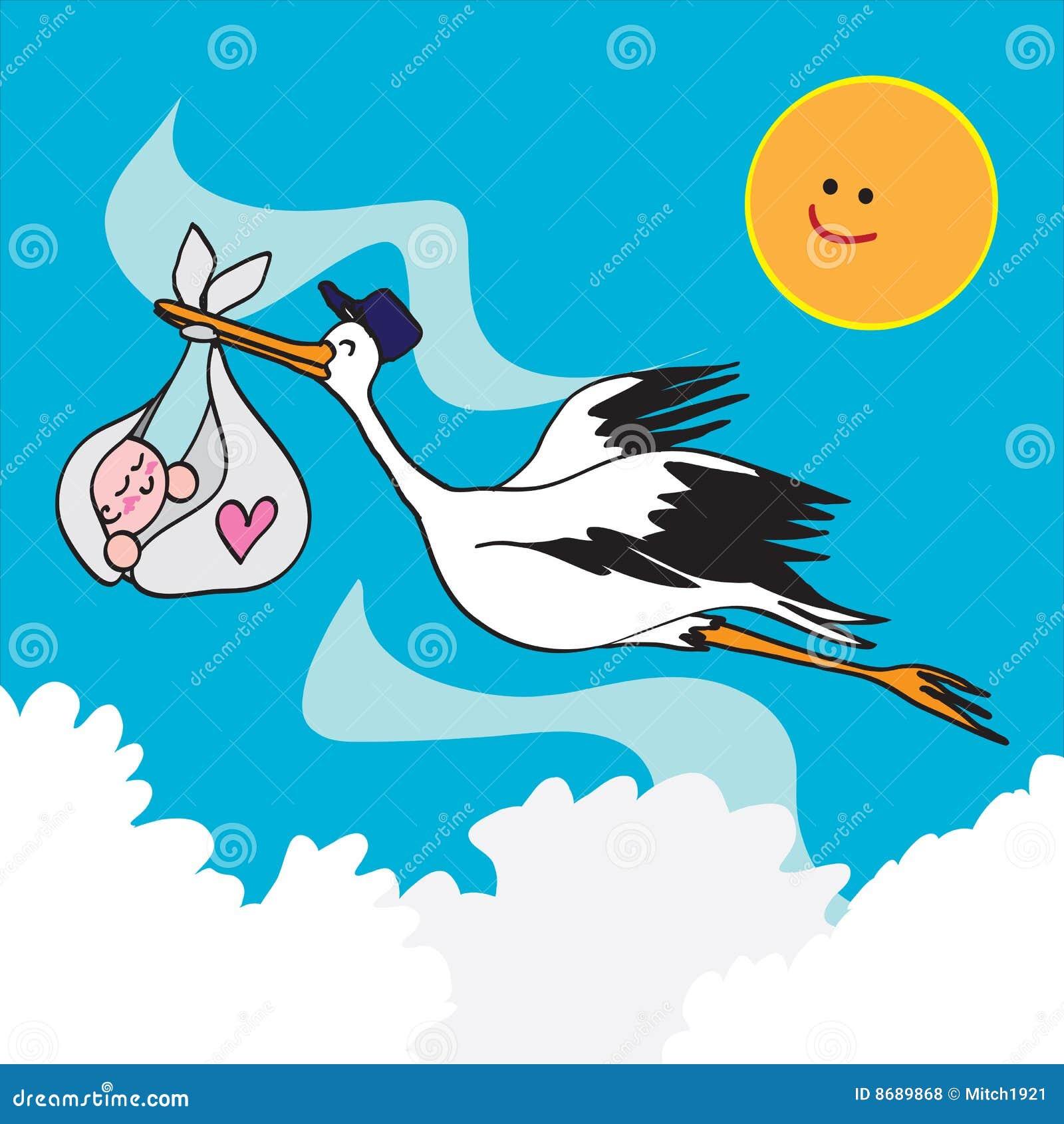 stork bird and baby stock vector illustration of held 8689868