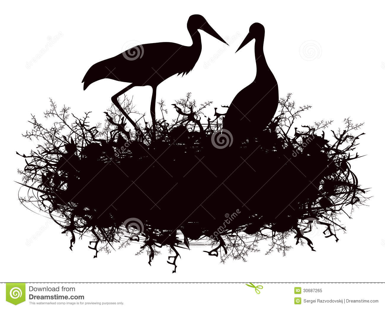 Bird Nest Silhouette Clip Art Stork nest