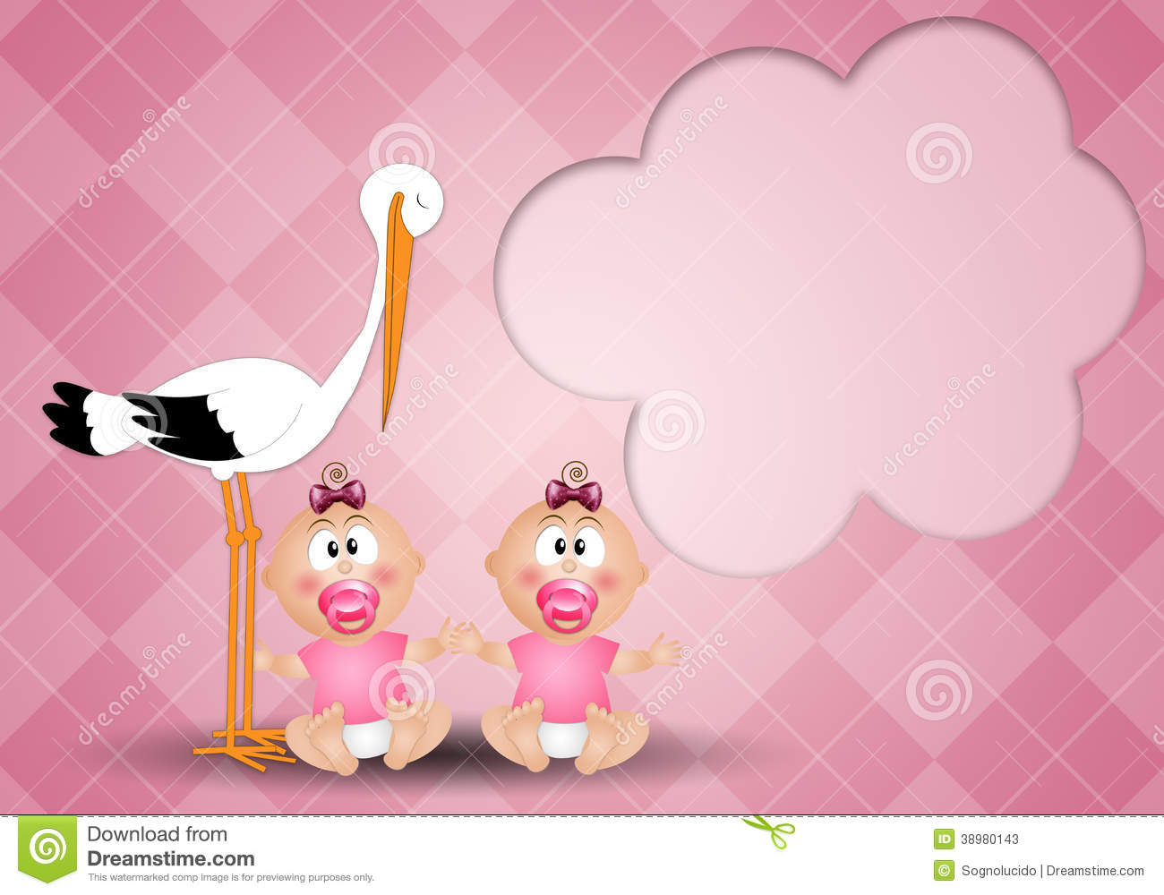 Stork With Twin Girls Stock Illustration - Image: 38980143